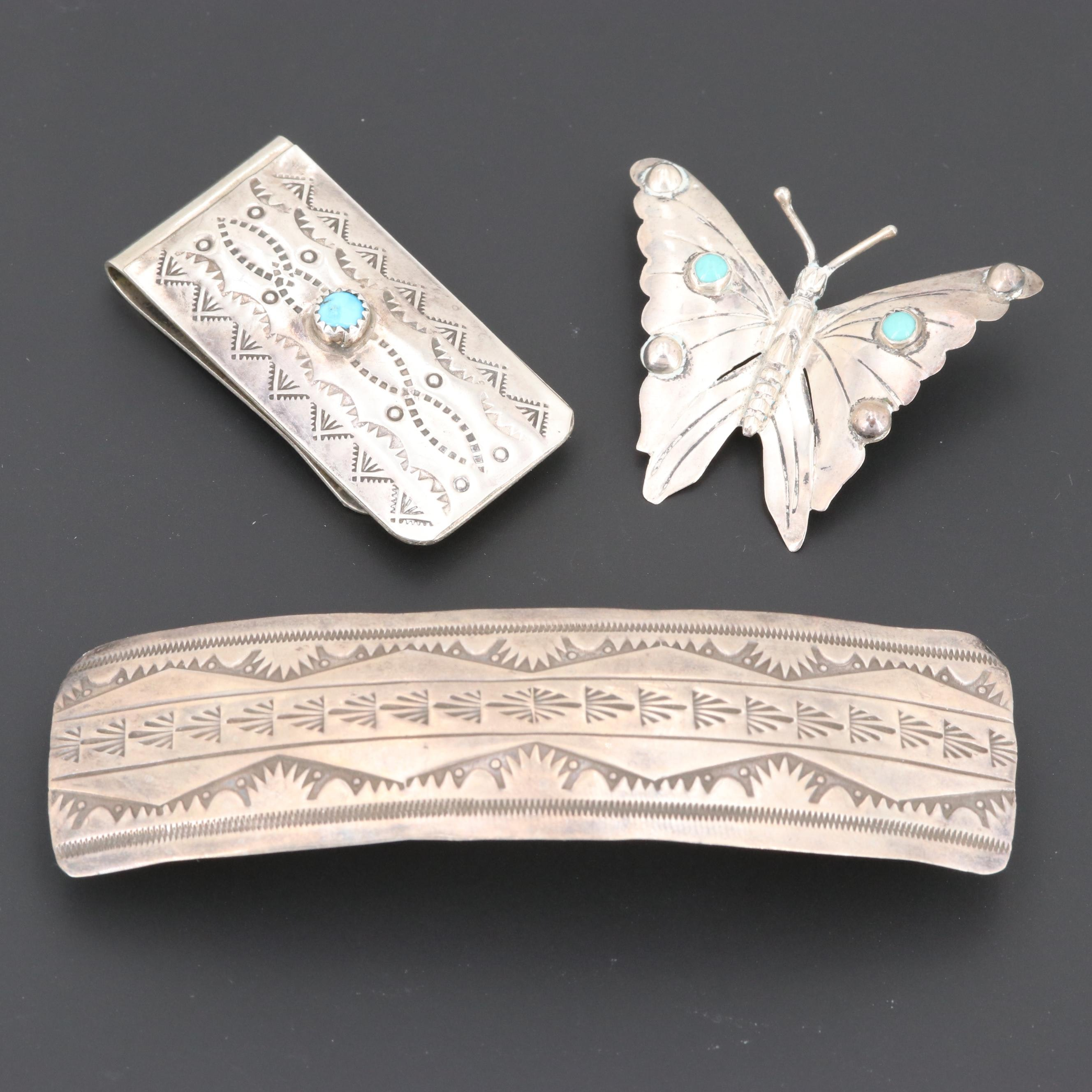 Southwestern Style Sterling Silver Jewelry, Hair and Money Clips with Turquoise