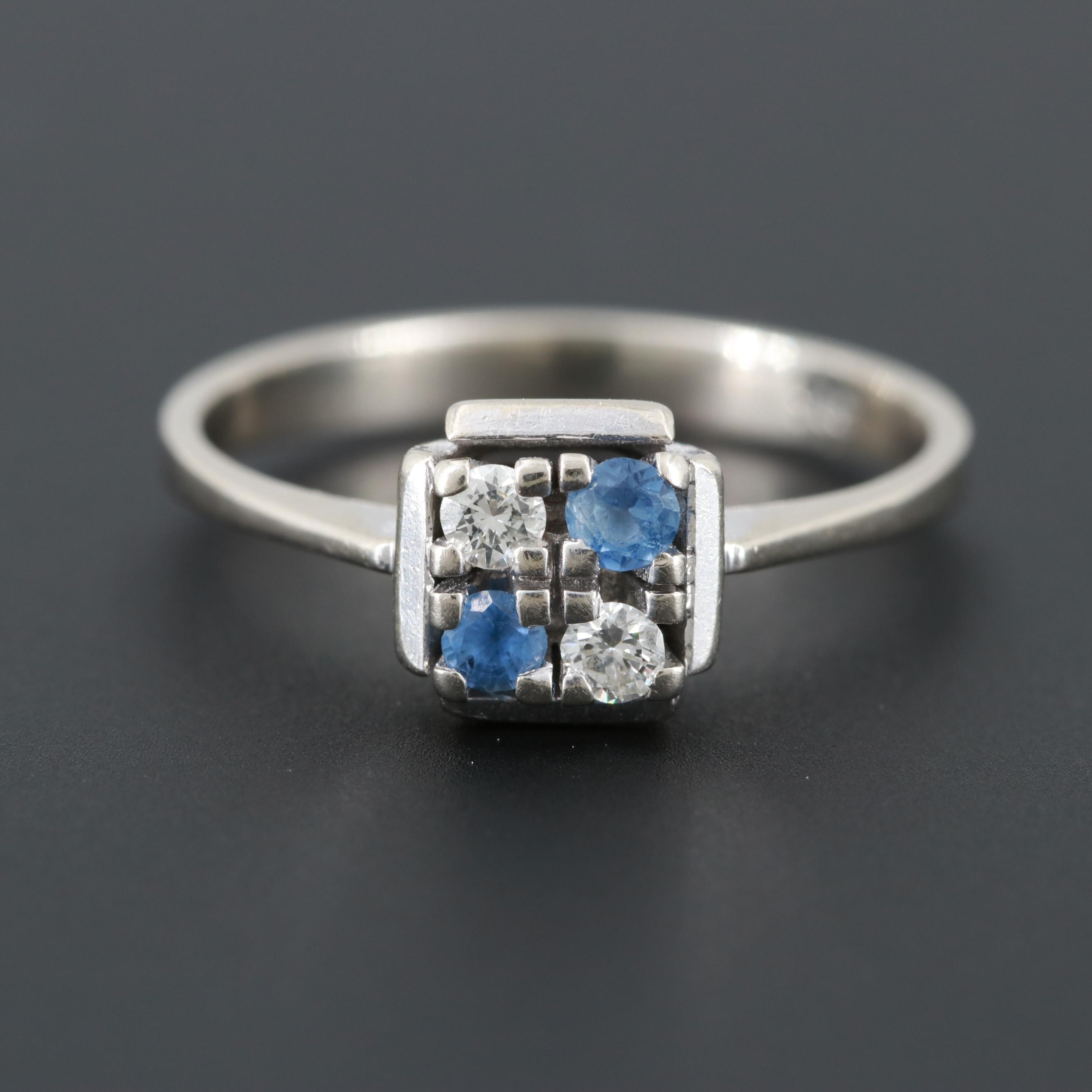 14K White Gold Diamond and Sapphire Ring