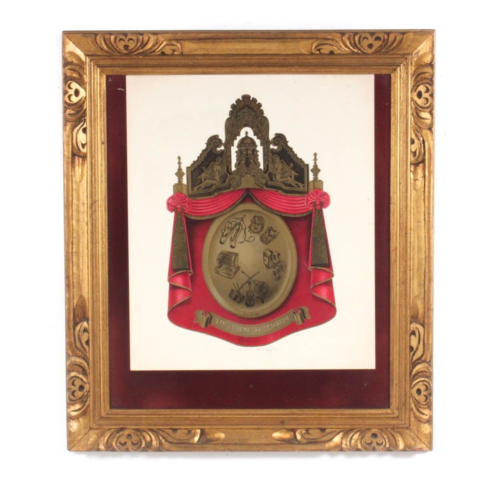 """Lucien E. Guilbert Color Lithograph """"The Ohio Theater Coat of Arms"""""""