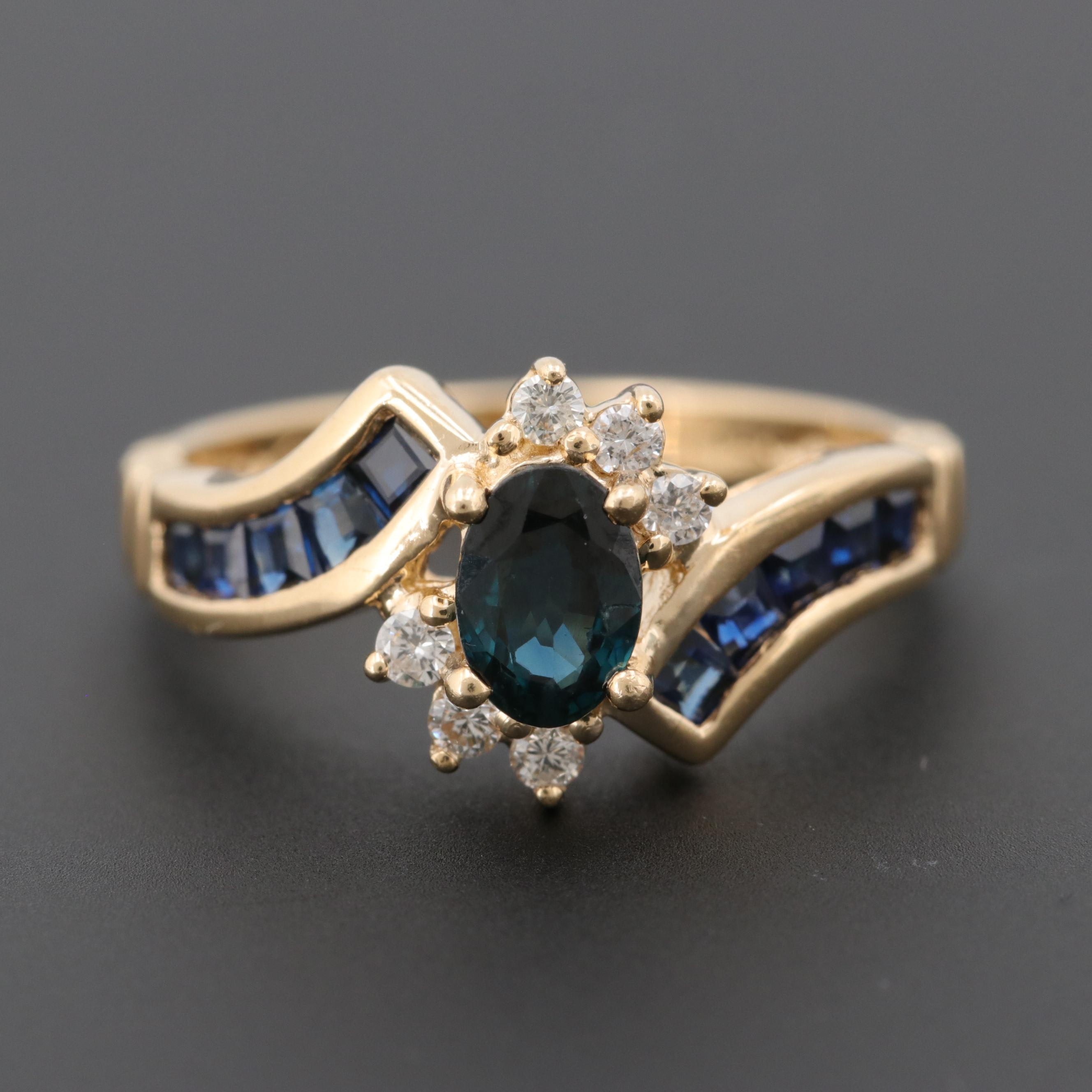 14K Yellow Gold Blue Sapphire and Diamond Bypass Ring