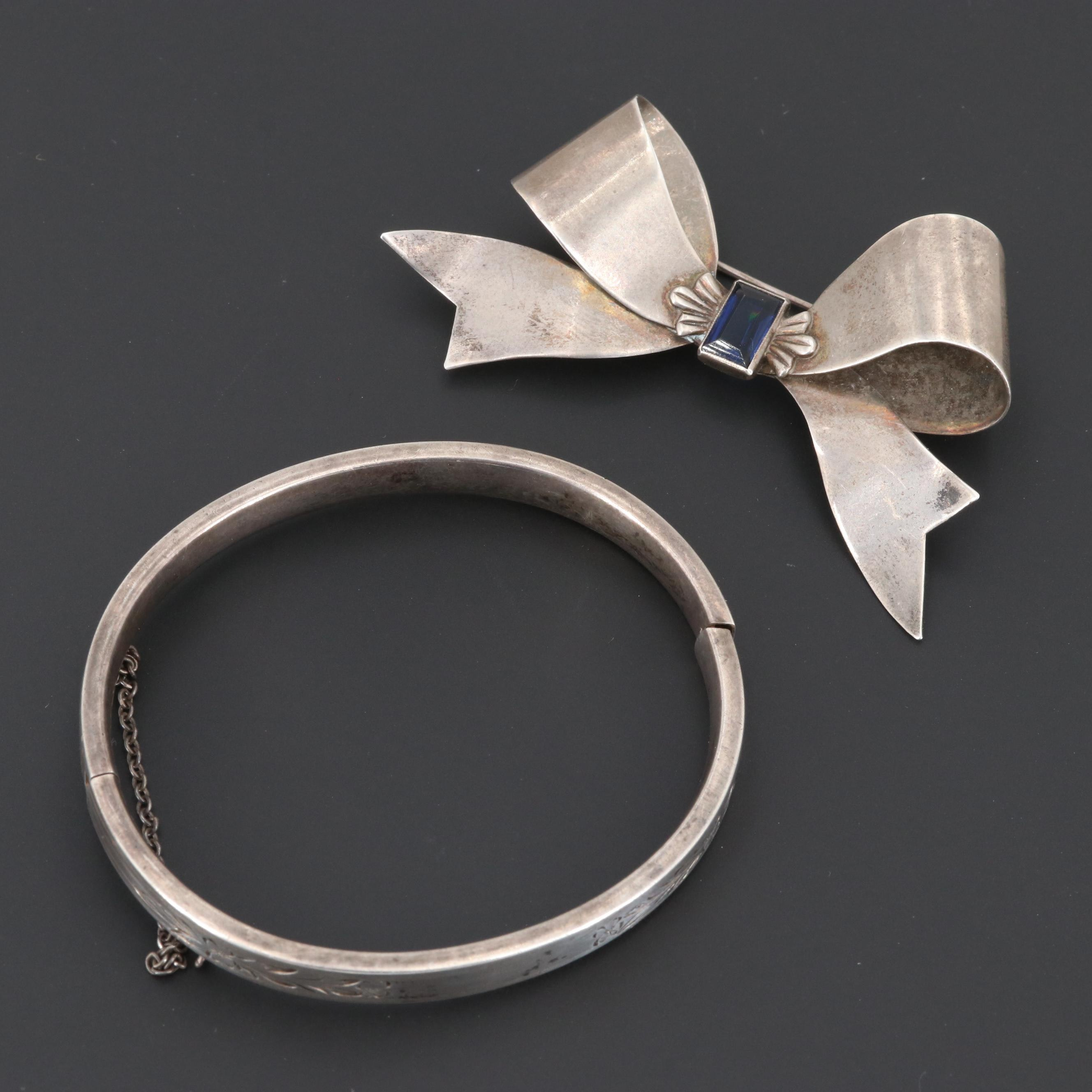 Circa 1930s Sterling Silver Hinged Bangle Bracelet and Glass Bow Brooch