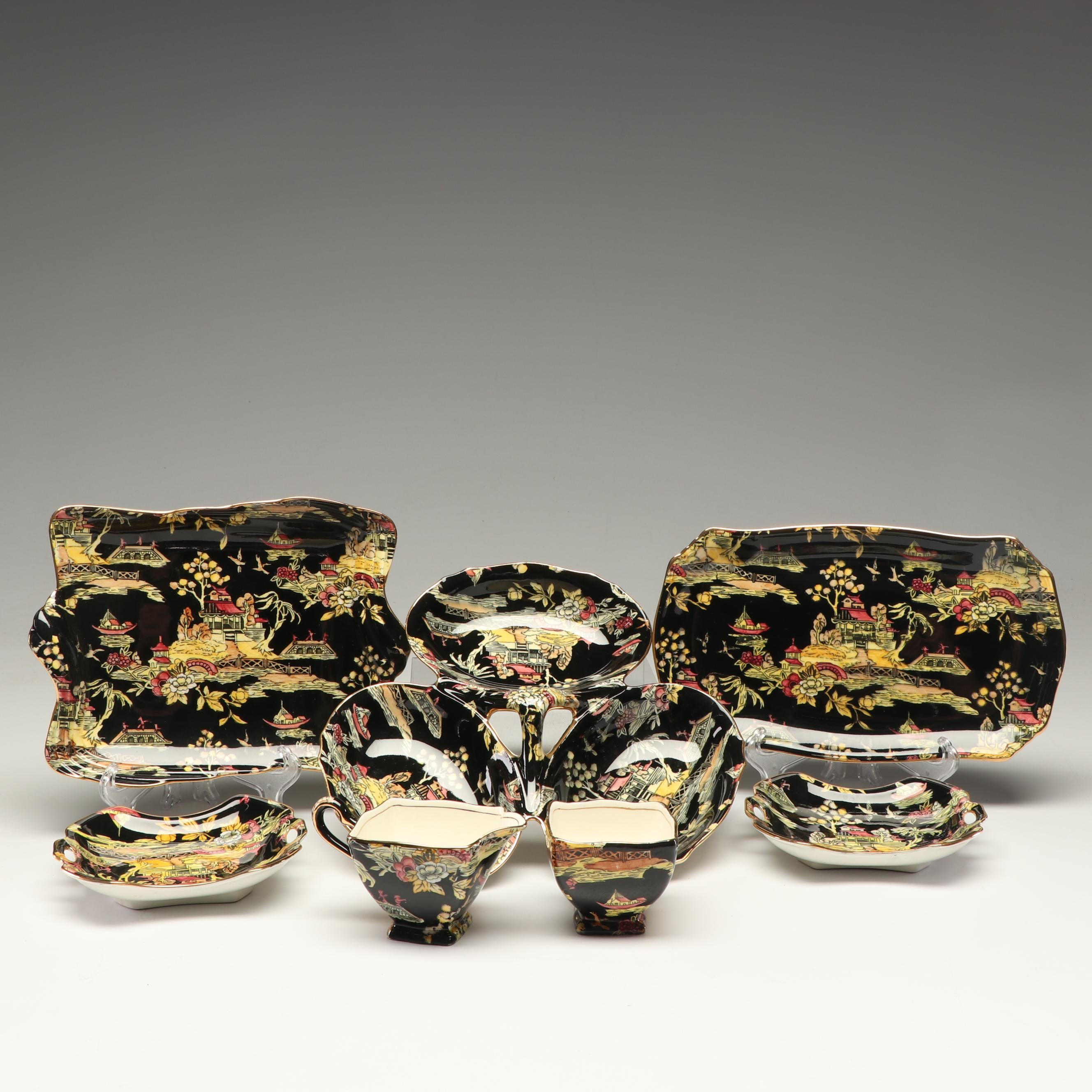 "Royal Winton Grimwades ""Black Pekin"" Serving Pieces, Circa 1951"