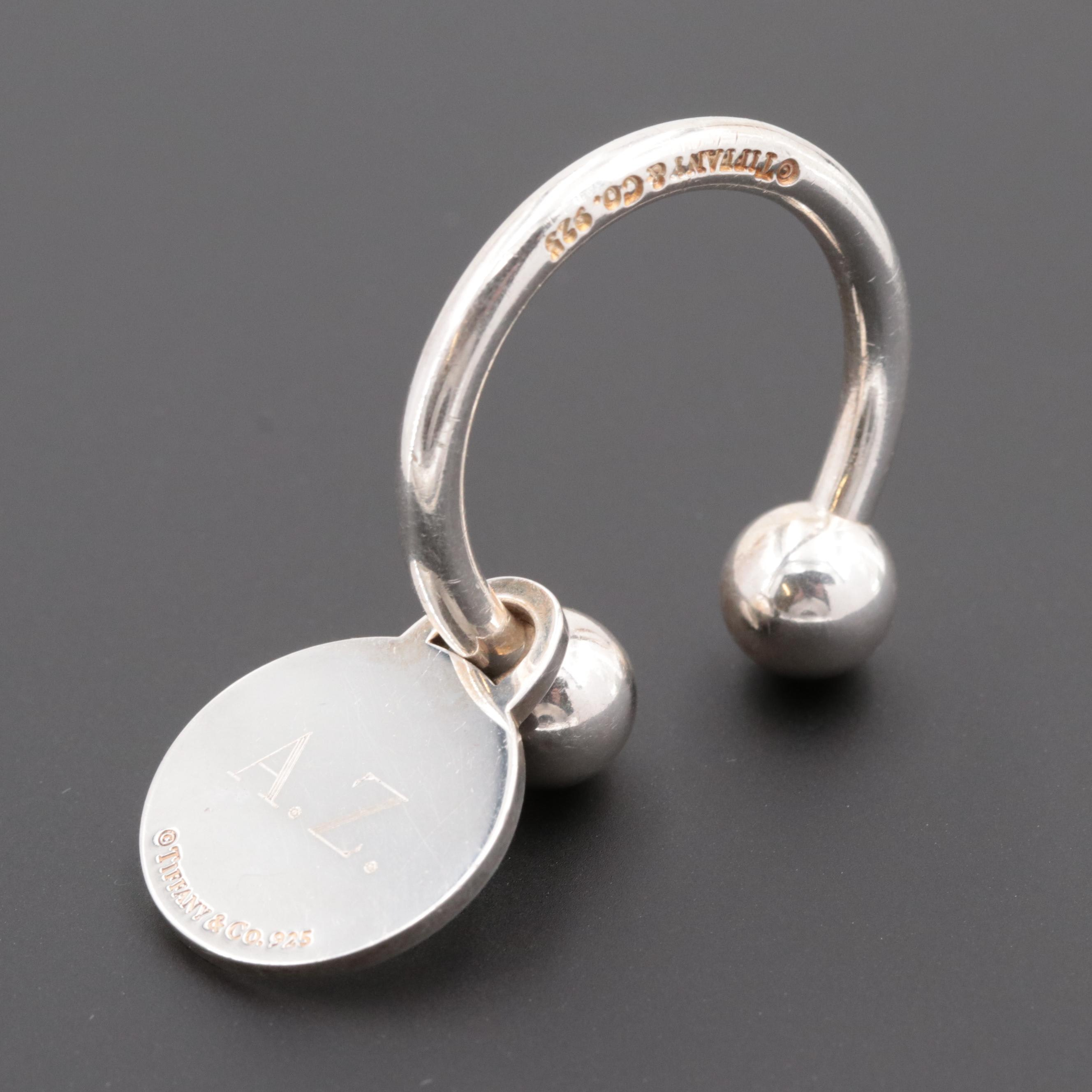 "Vintage Tiffany & Co. Sterling Silver ""Return to Tiffany"" Round Tag Key Ring"