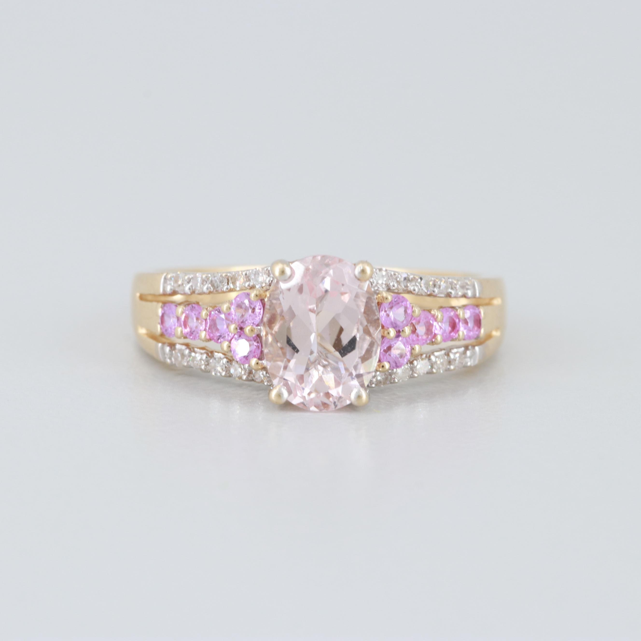 14K Yellow Gold Morganite, Diamond and Pink Sapphire Ring