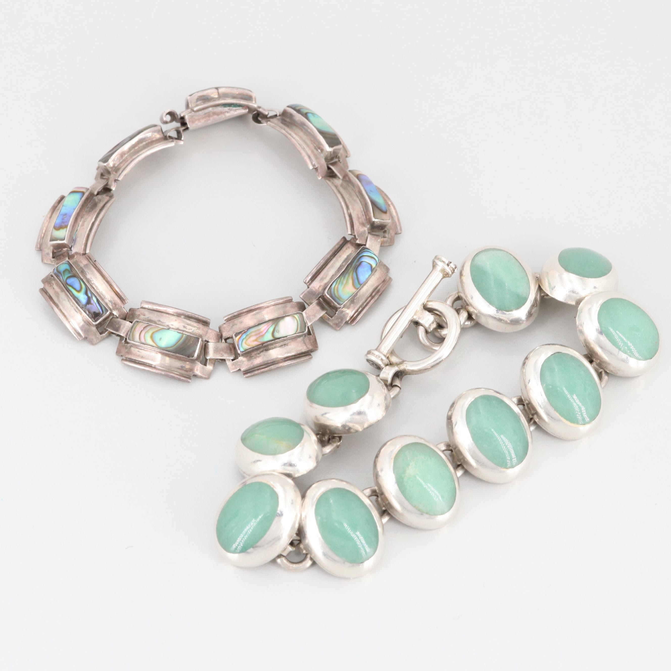 Mexican Sterling Silver Aventurine and Abalone Bracelets