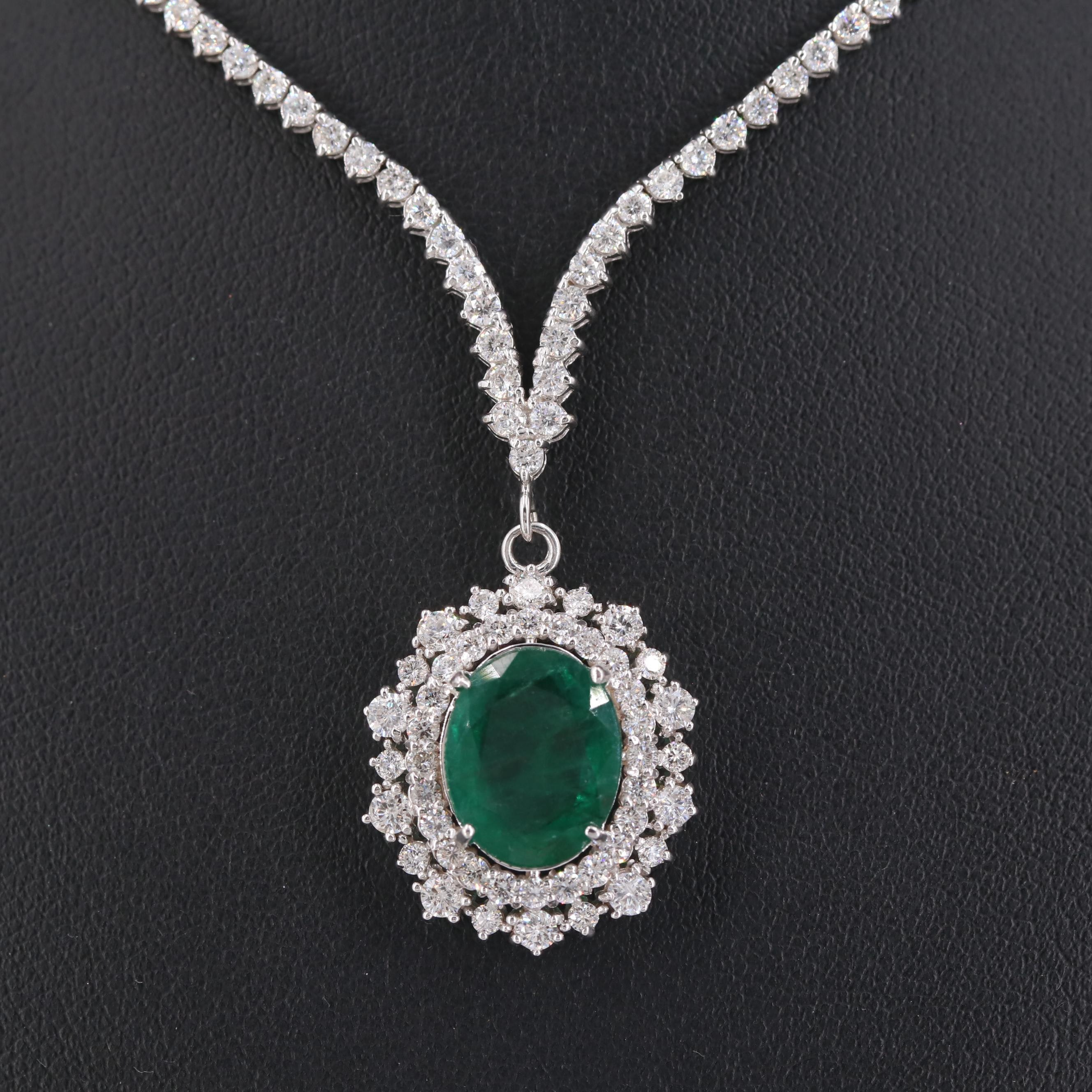18K White Gold 3.57 CT Emerald and 4.20 CTW Diamond Necklace