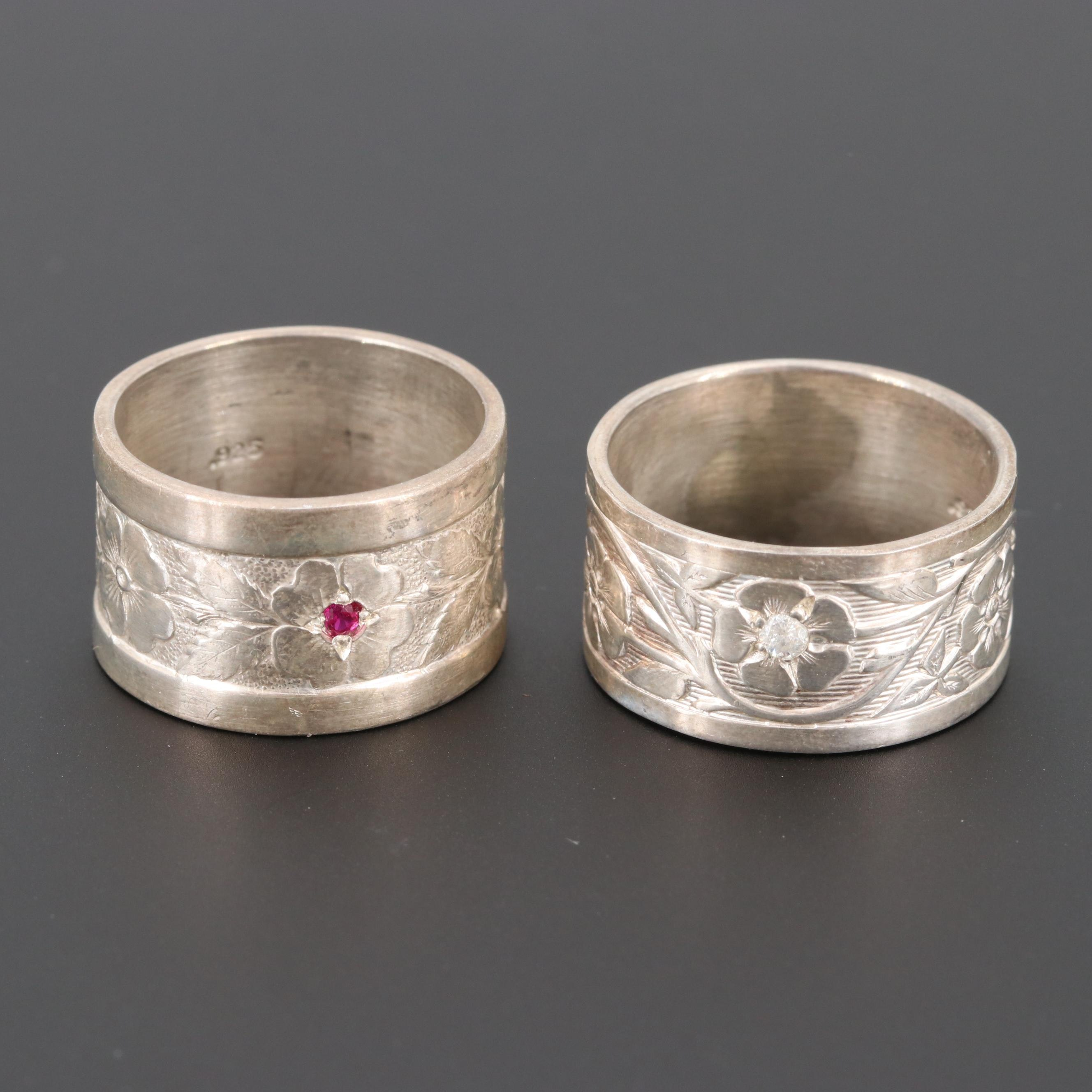 Sterling Silver Diamond and Synthetic Ruby Floral Rings