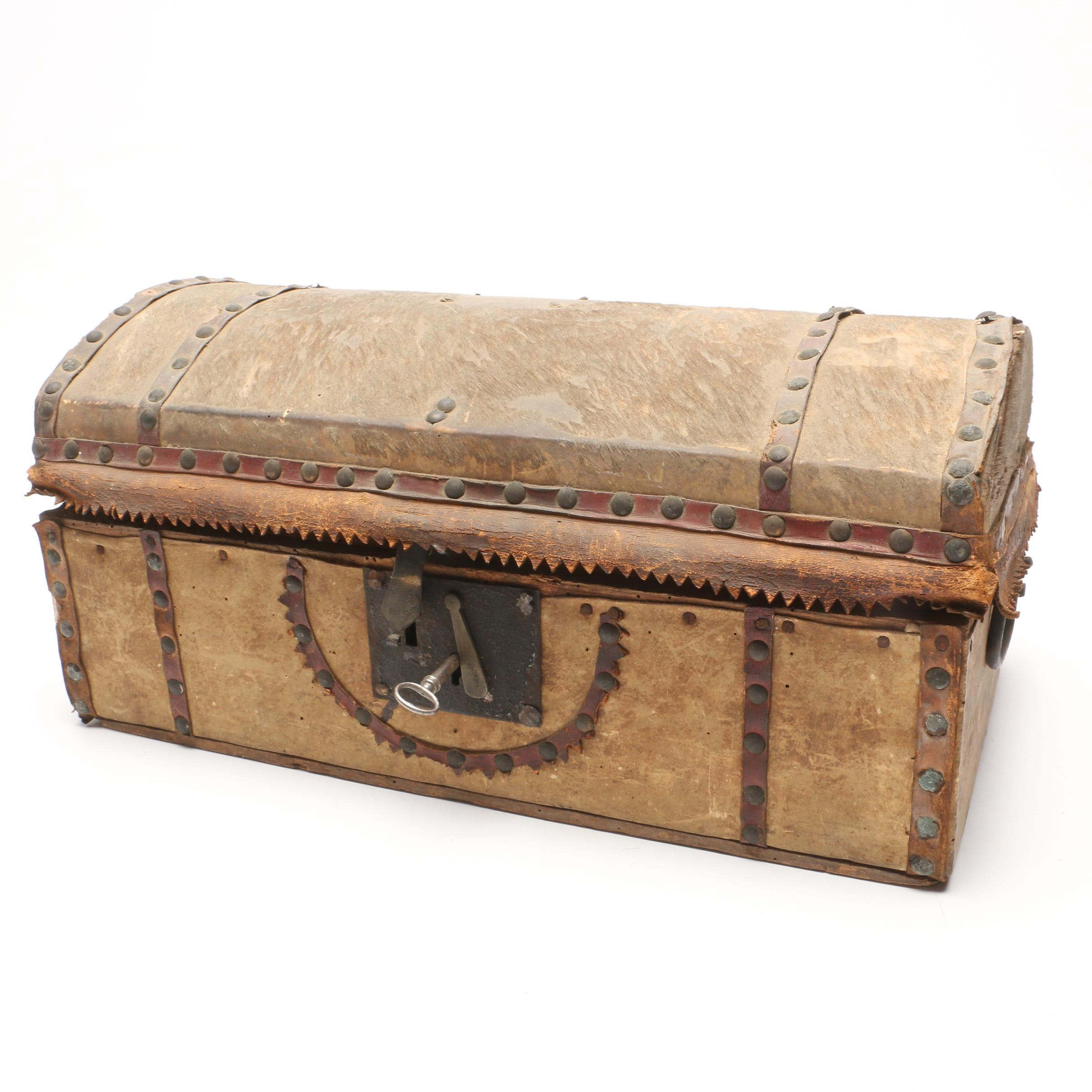 Antique Hide Covered Document Box with Key Ca. Early 19th Century