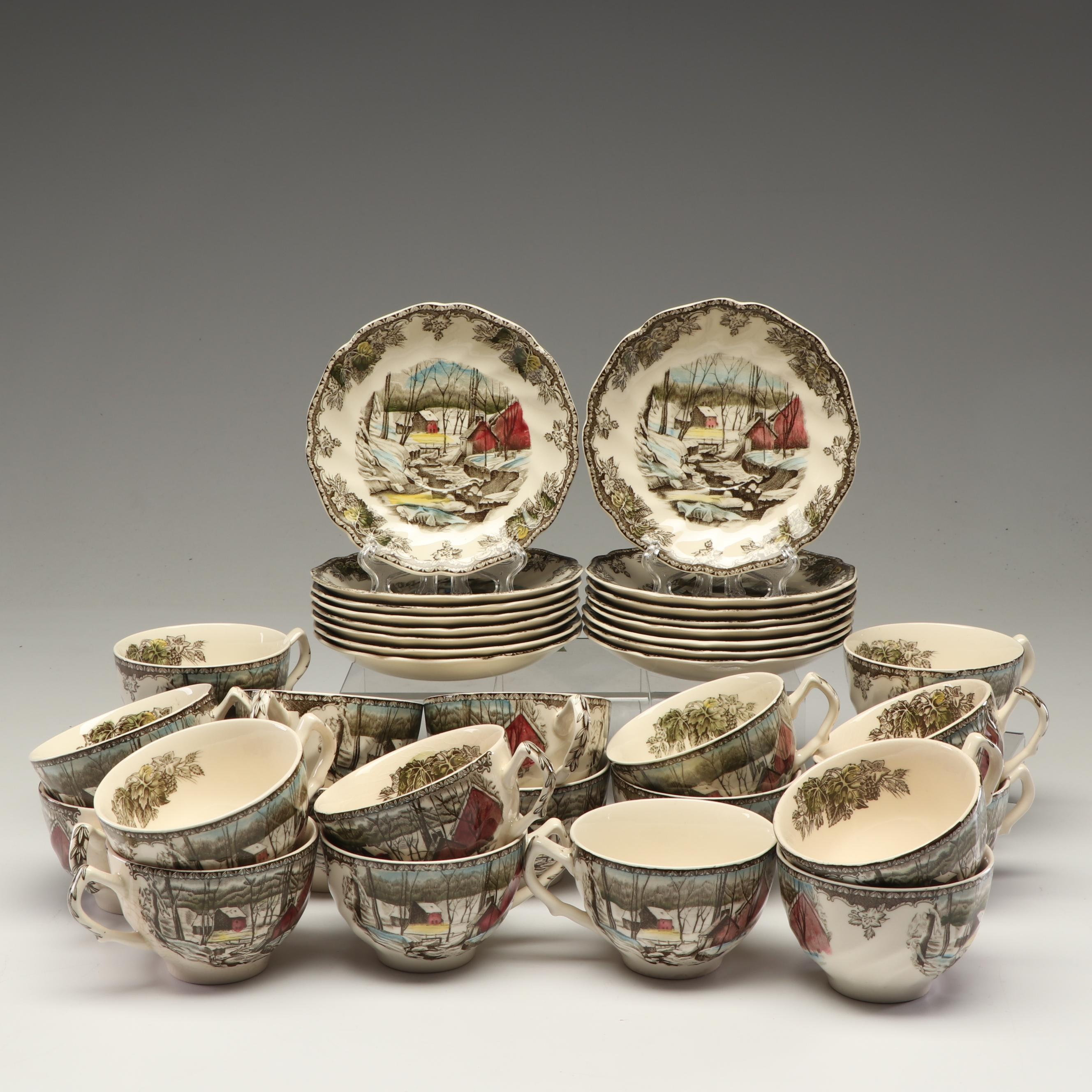 """Johnson Bros """"The Friendly Village Ice House"""" Ironstone Cups and Saucers"""