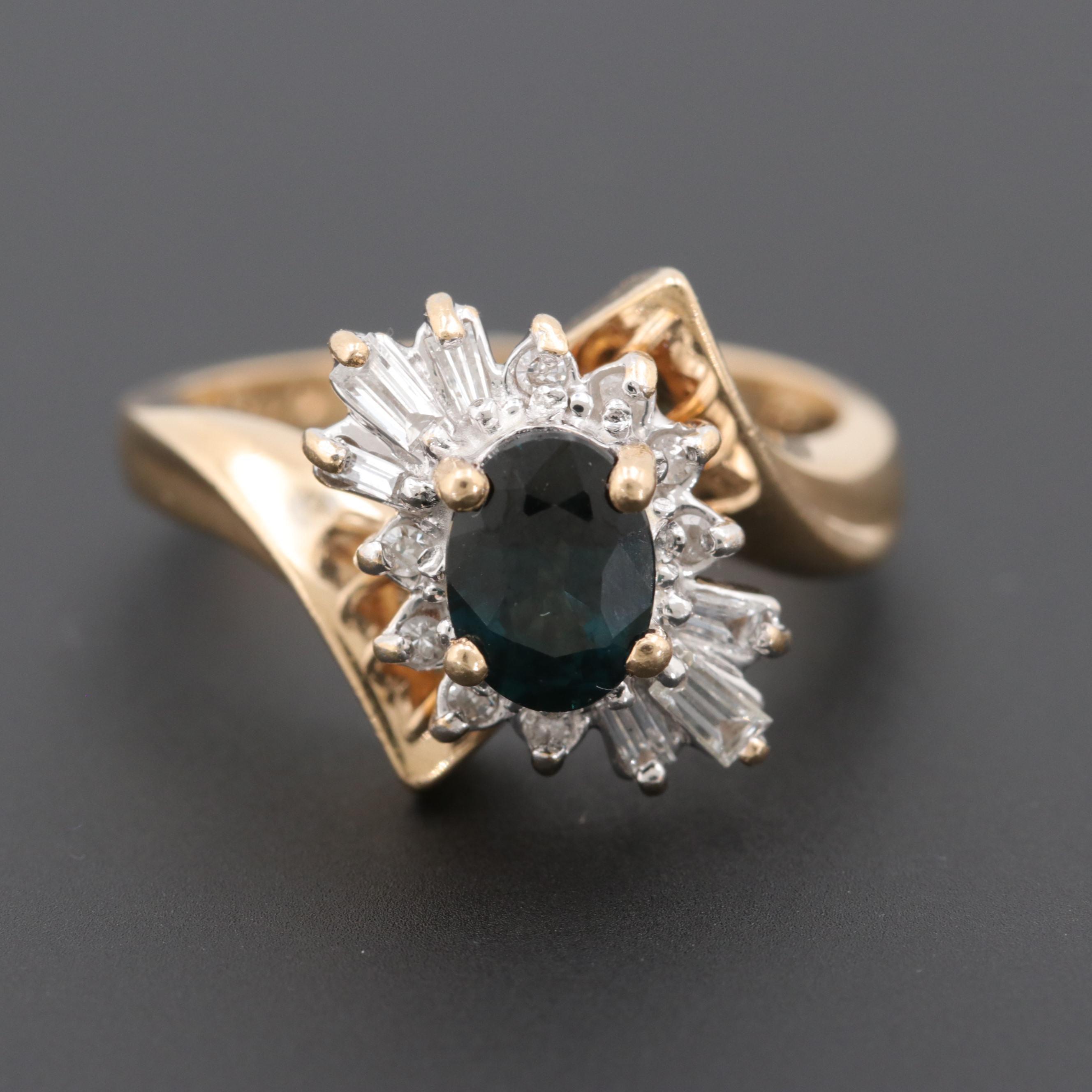 Alwand Vahan 14K Yellow Gold Sapphire and Diamond Bypass Ring