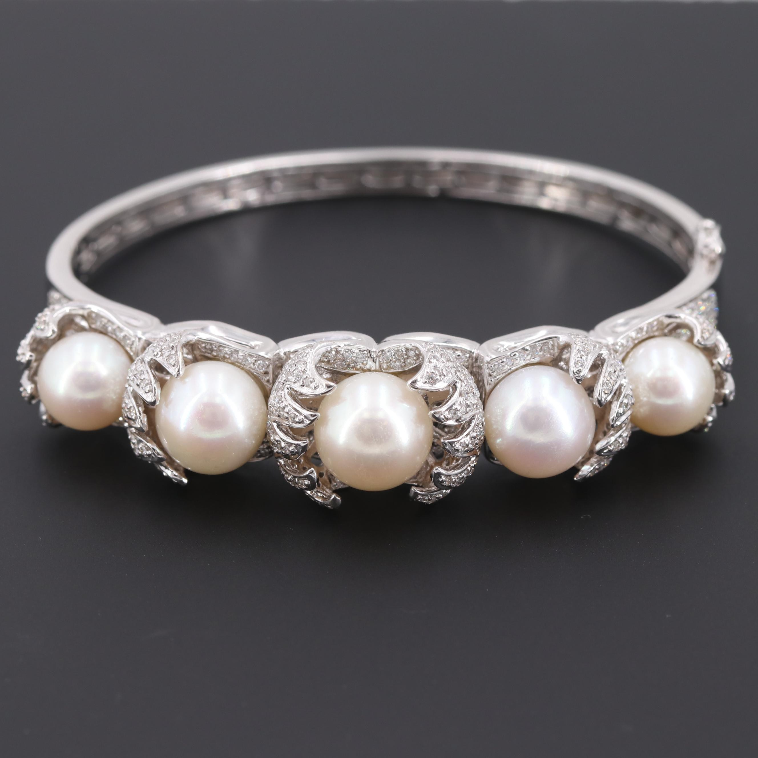 18K White Gold Cultured Pearl and 2.54 CTW Diamond Bracelet