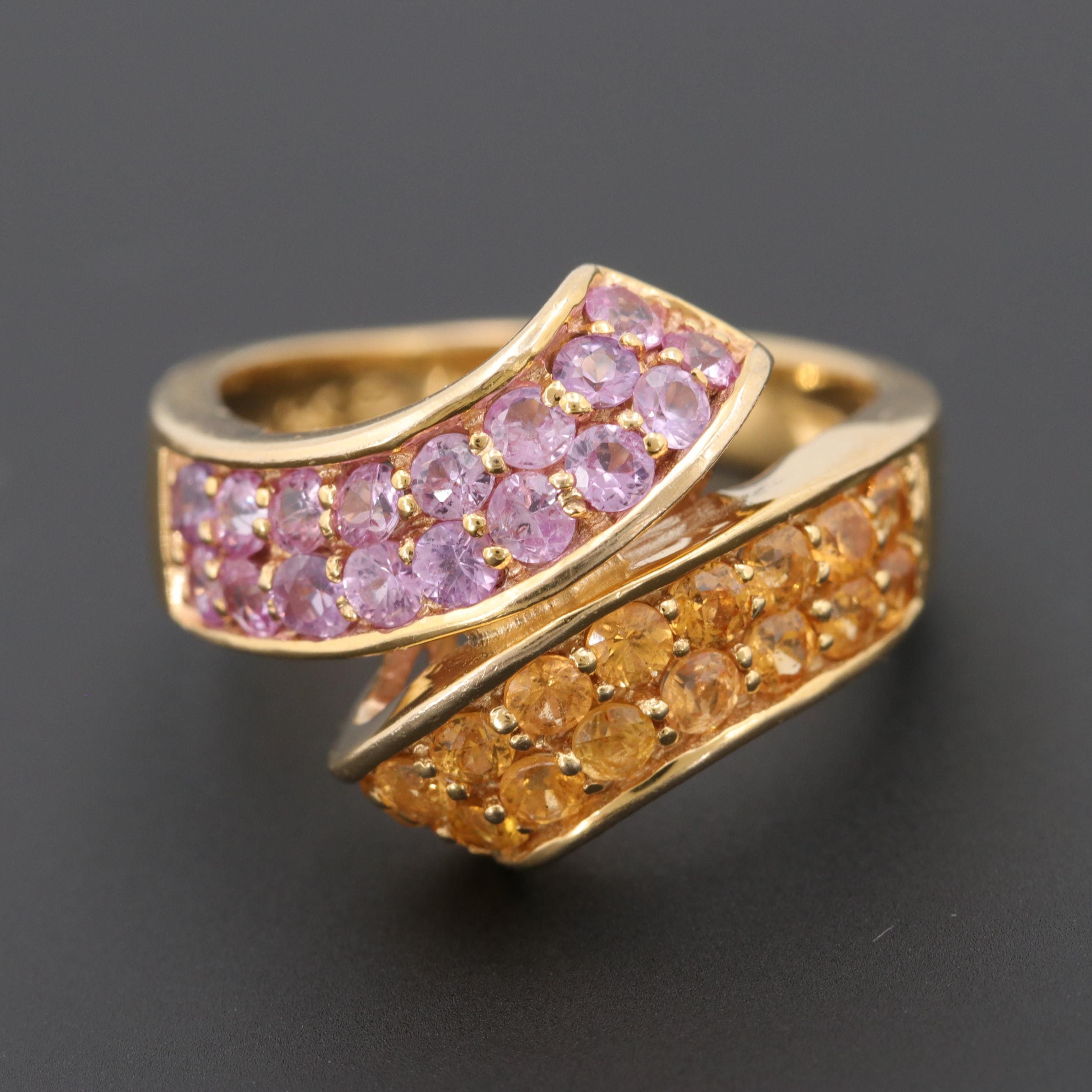 14K Yellow Gold Pink and Yellow Sapphire Bypass Ring