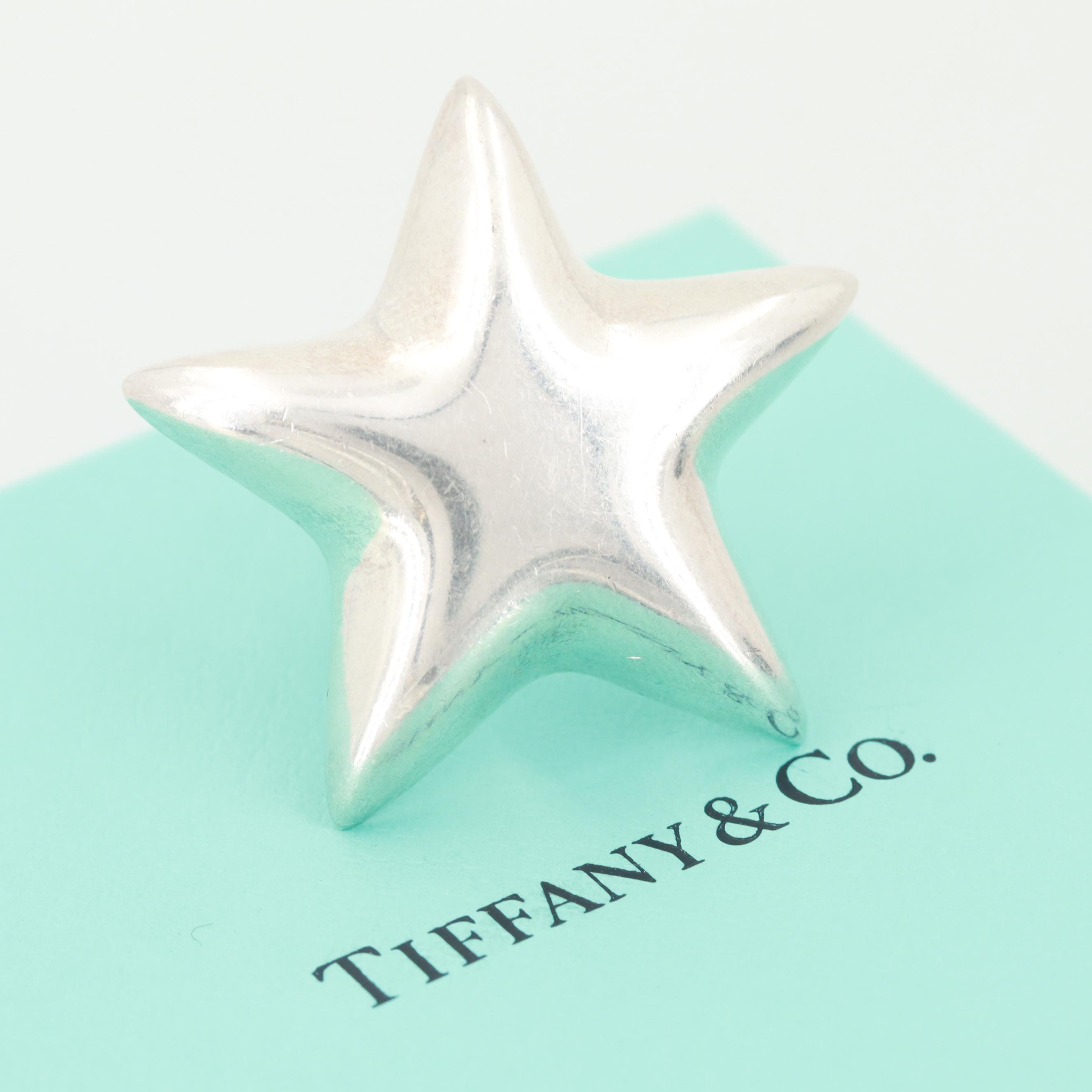 Tiffany & Co Sterling Silver Star Brooch Including Pouch and Box