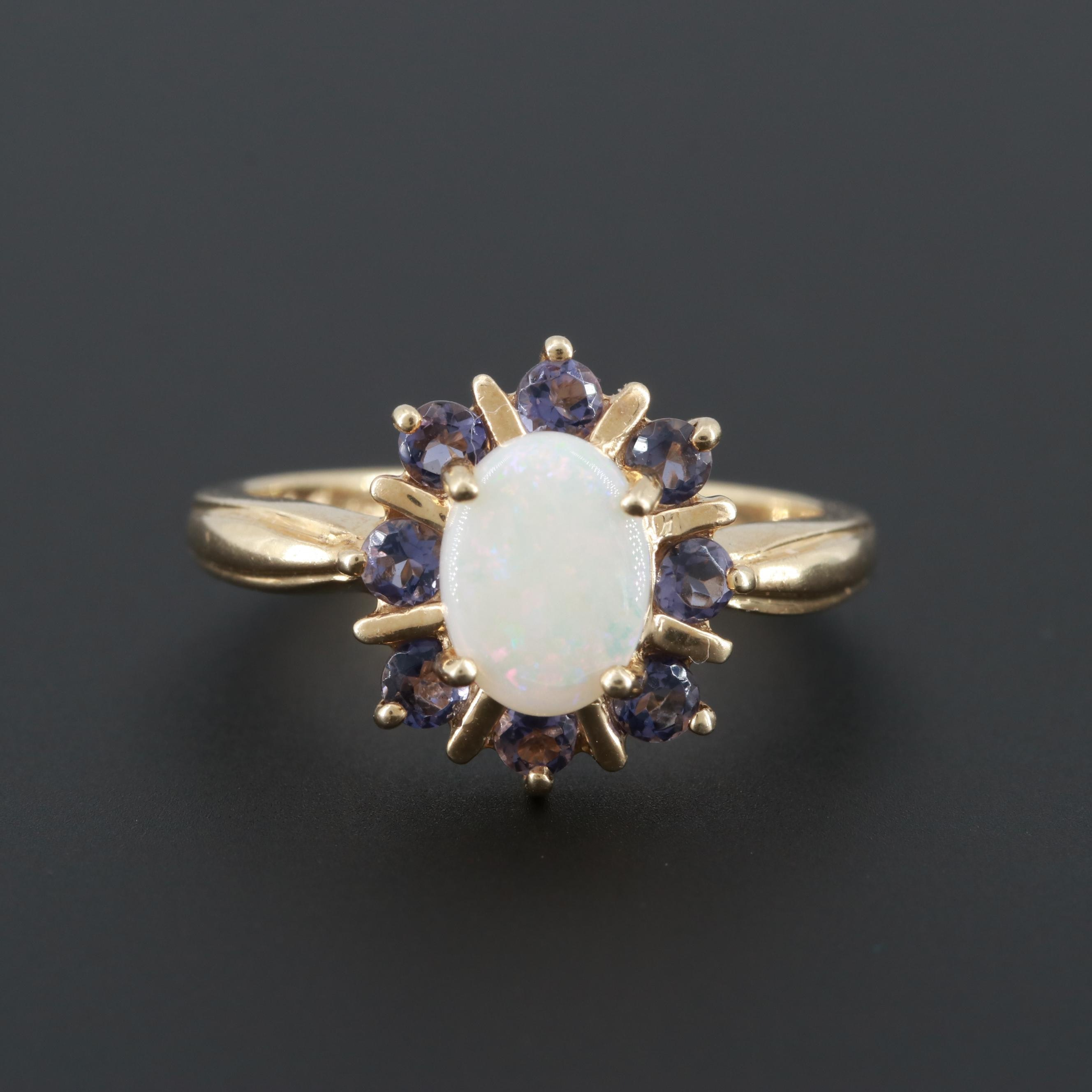 10K Yellow Gold Opal and Iolite Ring