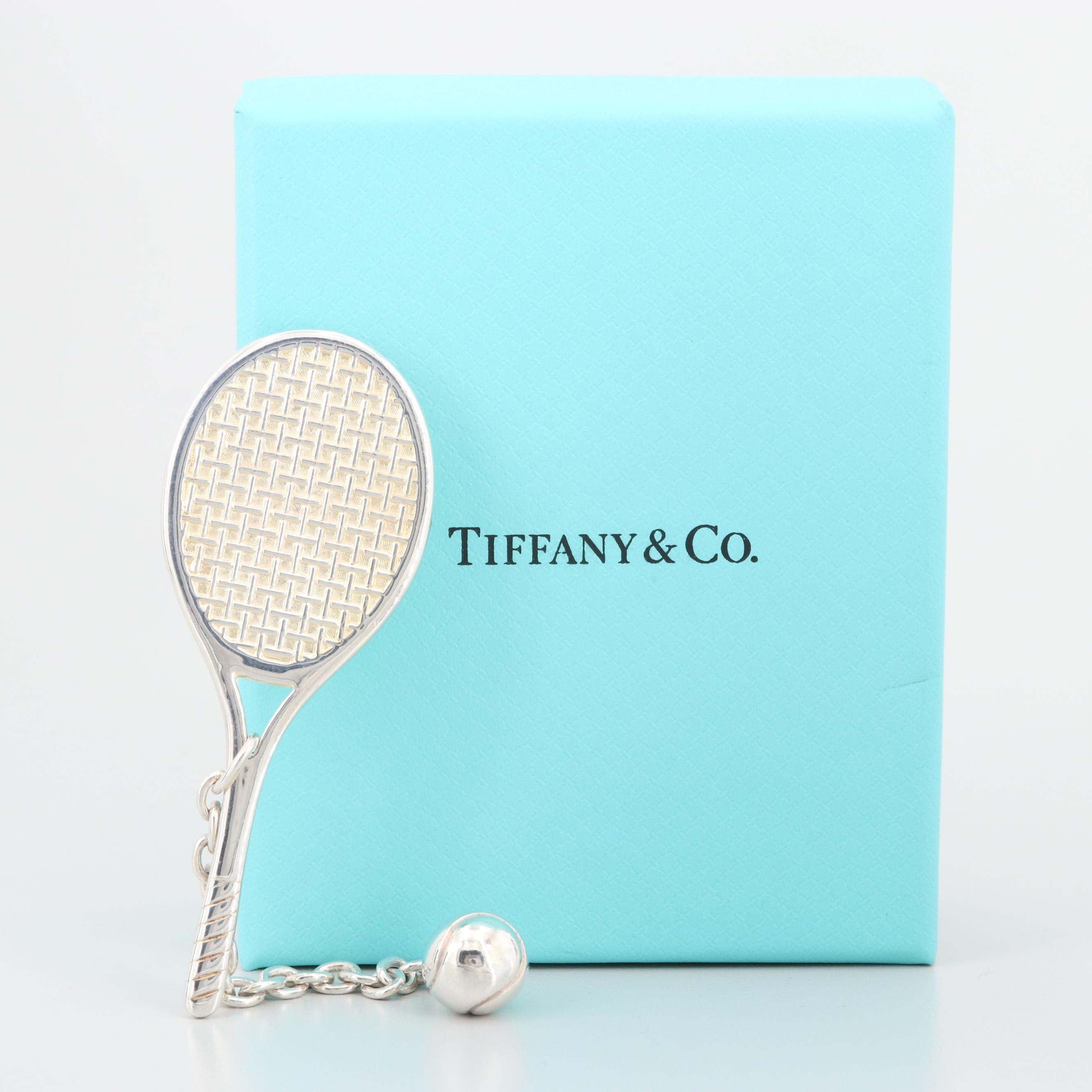 Tiffany & Co Sterling Silver Tennis Racket Key Chain with Pouch and Box