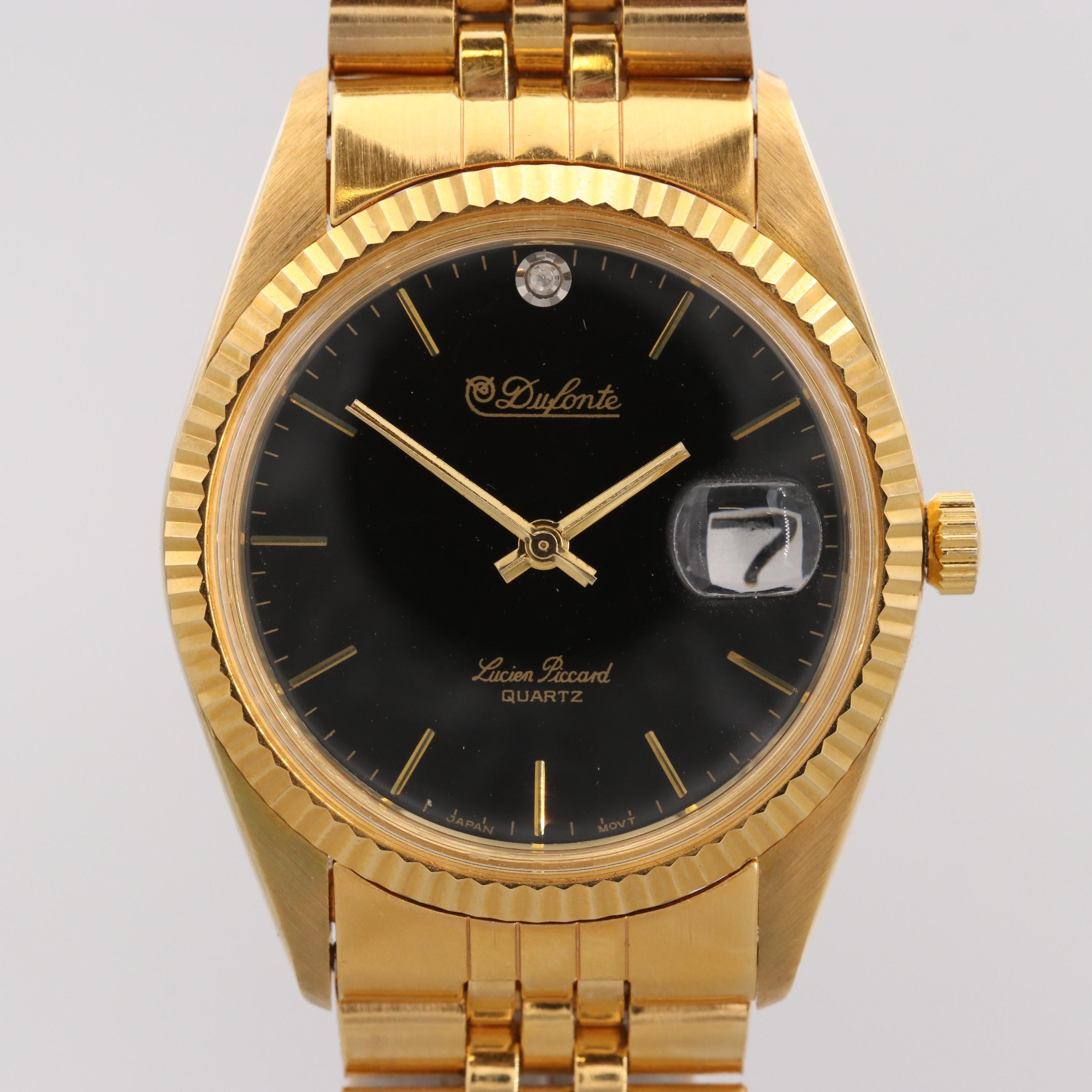 Dufonte by Lucien Piccard Gold Tone Quartz Wristwatch With Diamond Accent