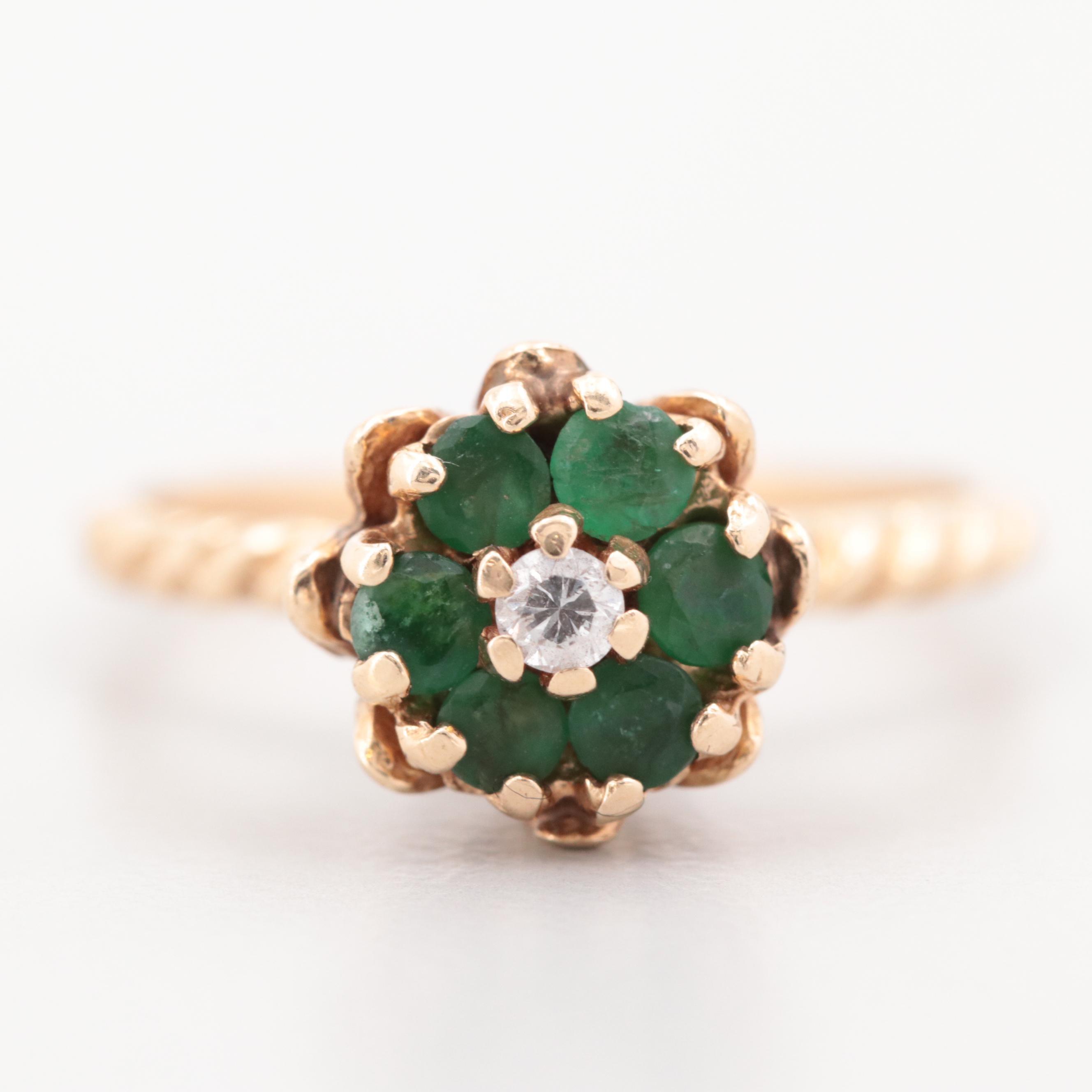 14K Yellow Gold Diamond and Emerald Tulip Ring