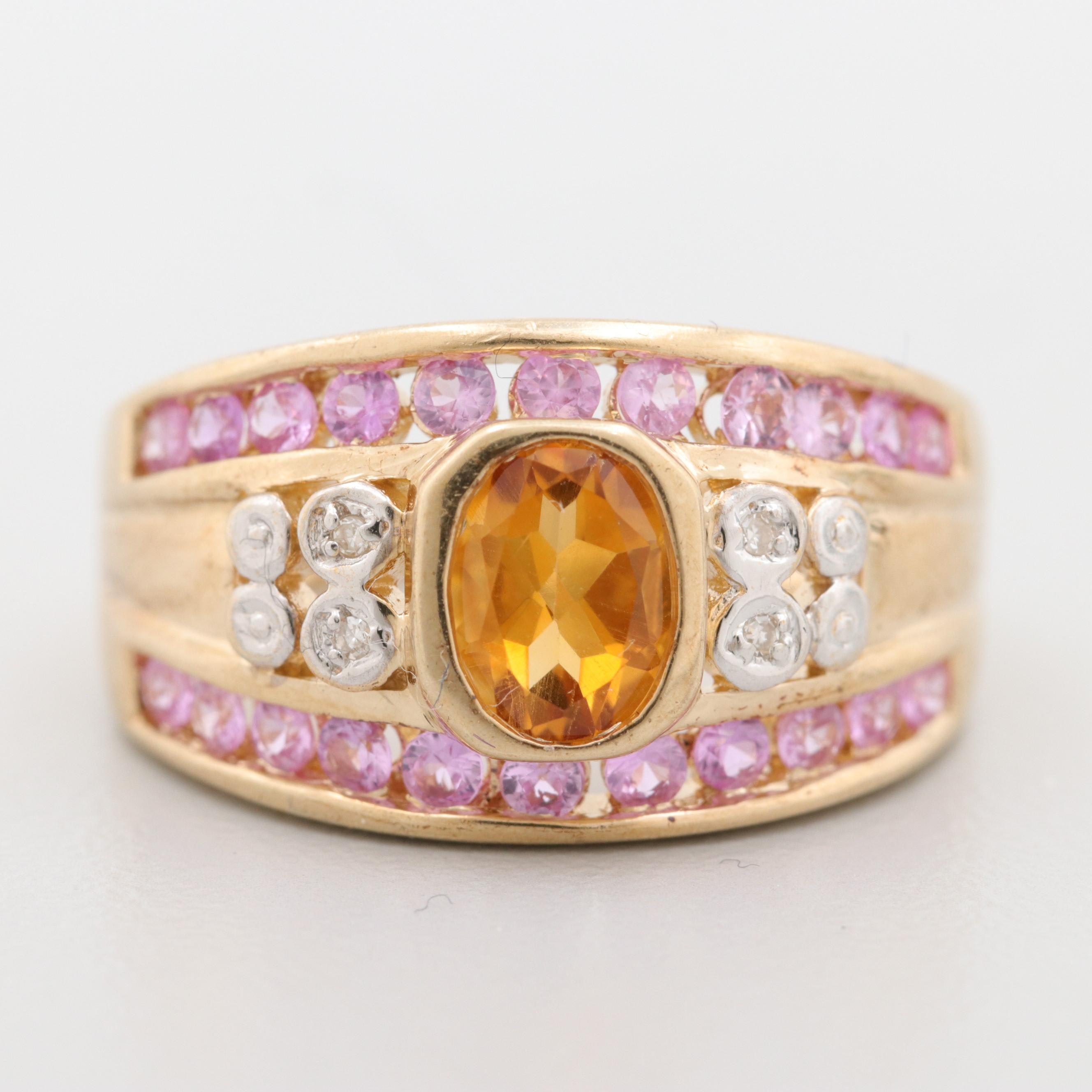 10K Yellow Gold Citrine, Diamond and Sapphire Ring