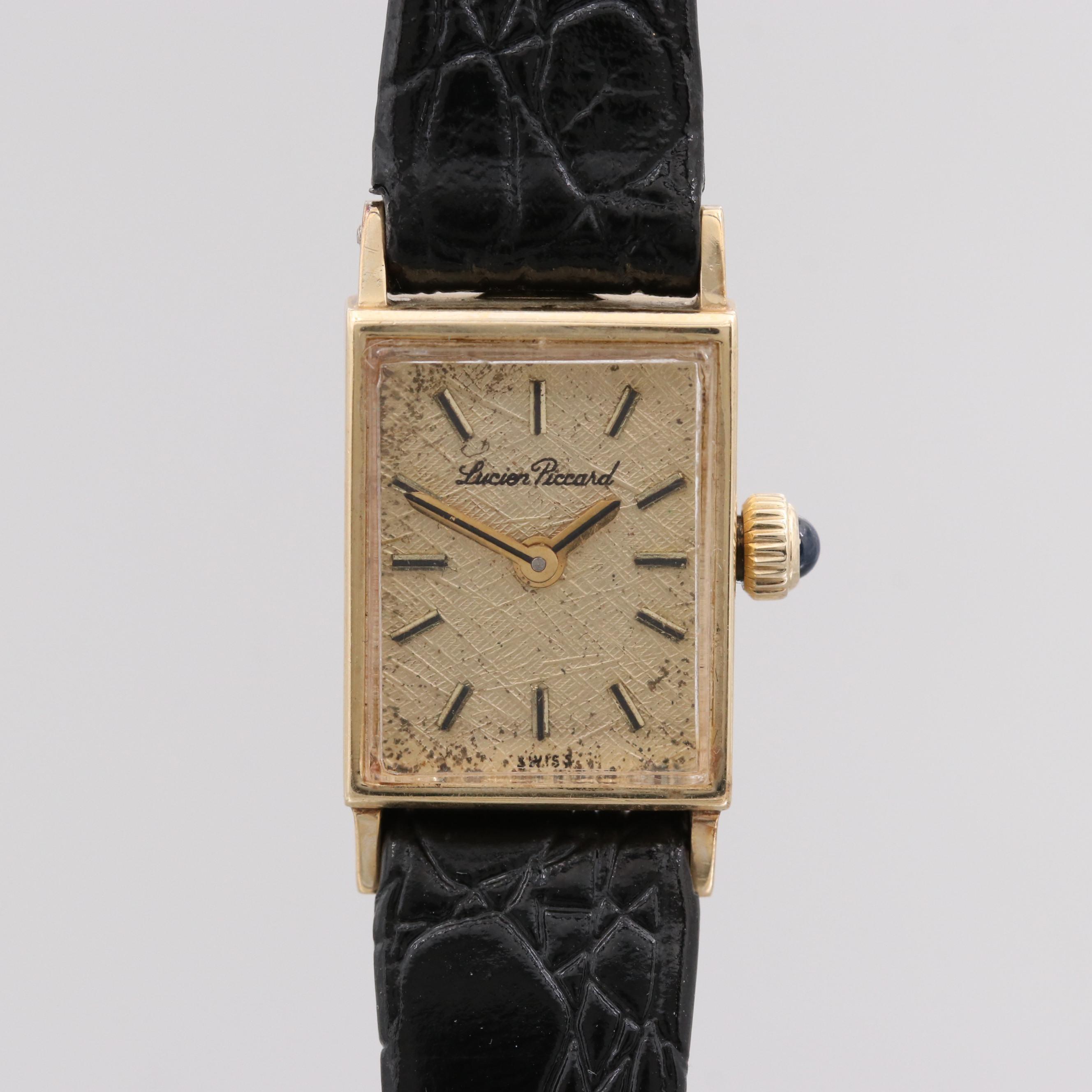 Vintage Lucien Piccard 14K Yellow Gold Stem Wind Wristwatch