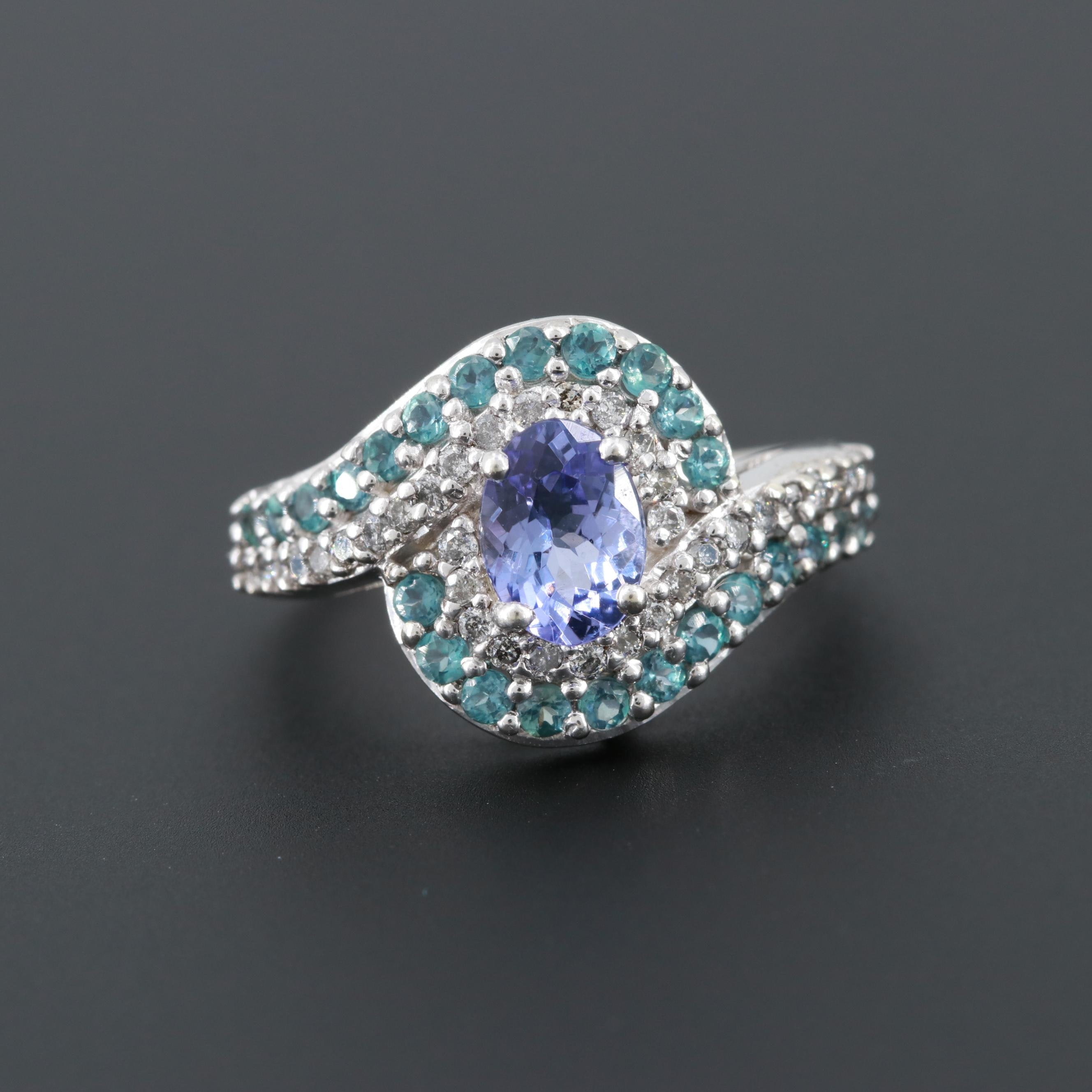 10K White Gold Tanzanite, Diamond and Alexandrite Ring