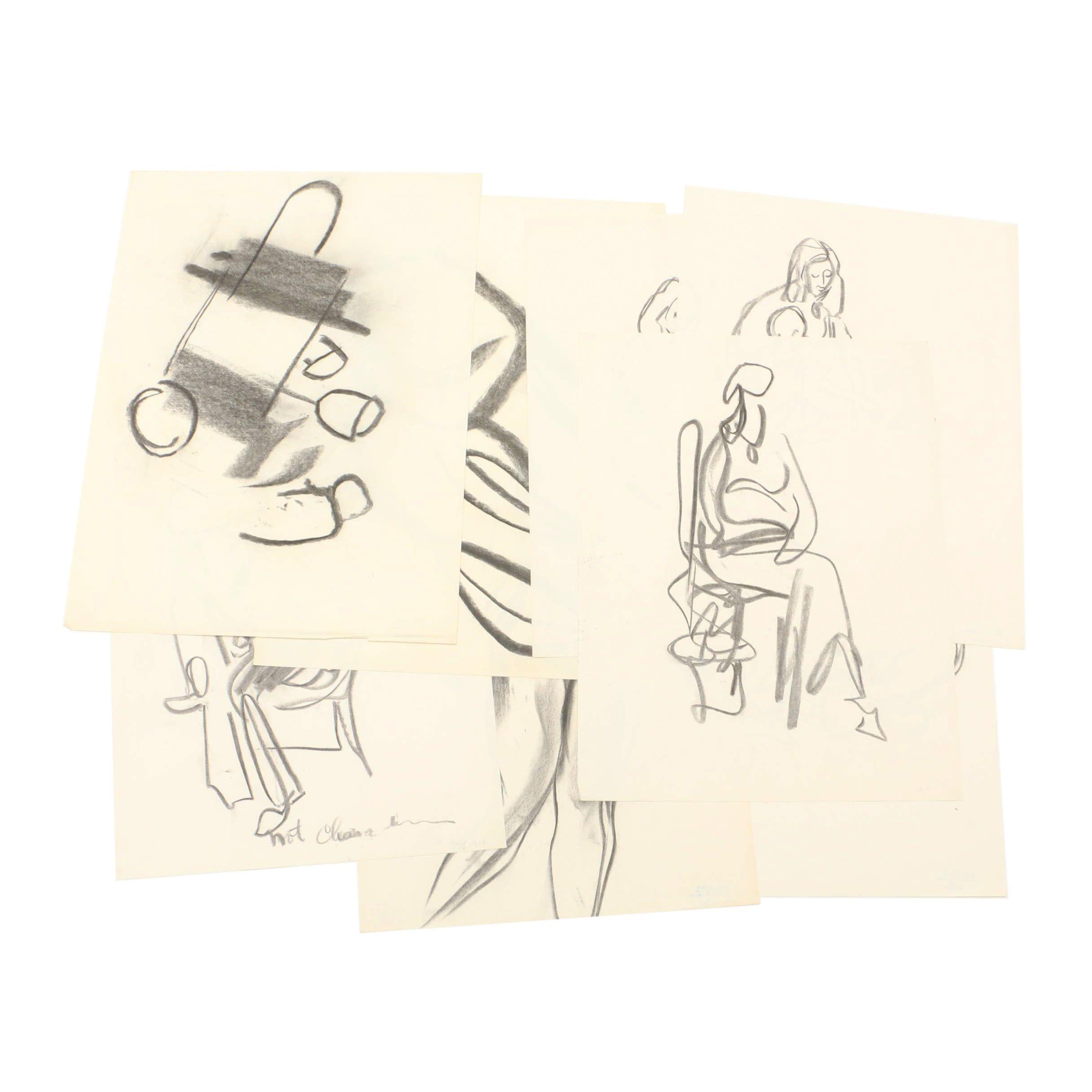 Paul Chidlaw Charcoal Figure Gesture Drawings