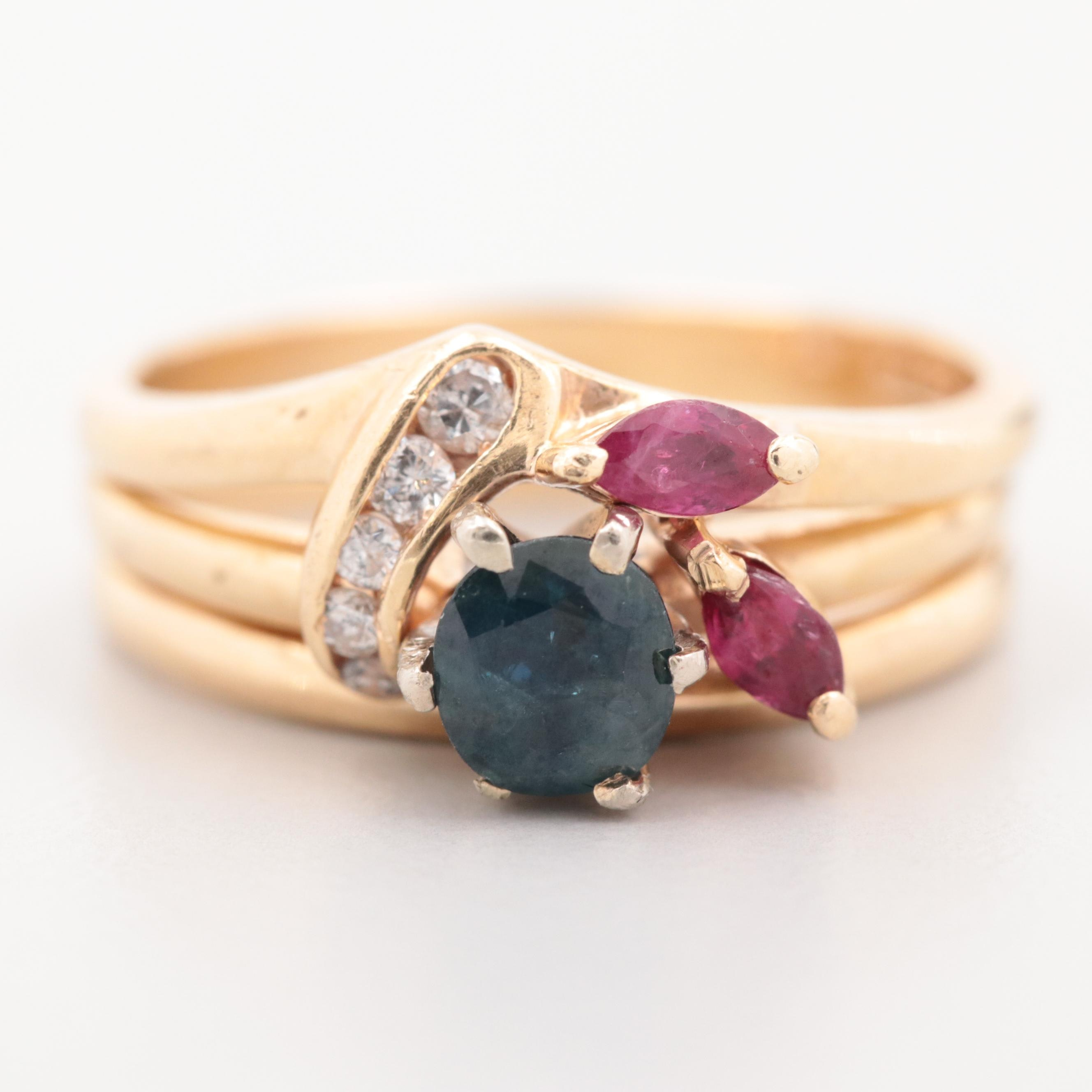 14K Yellow Gold Blue Sapphire, Ruby, and Diamond Triple Band