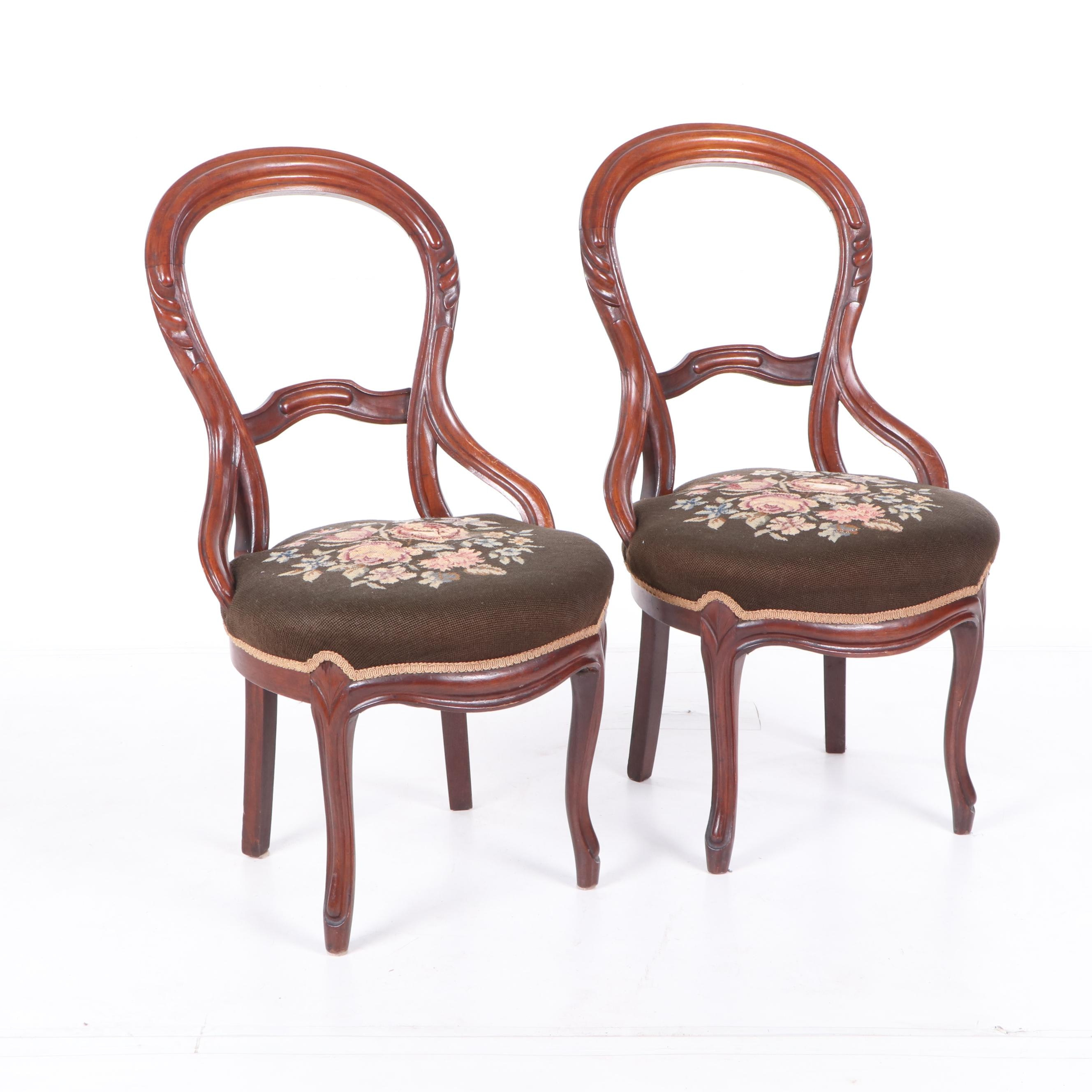 Victorian Mahogany Needlepoint Parlor Chairs, Late 19th Century