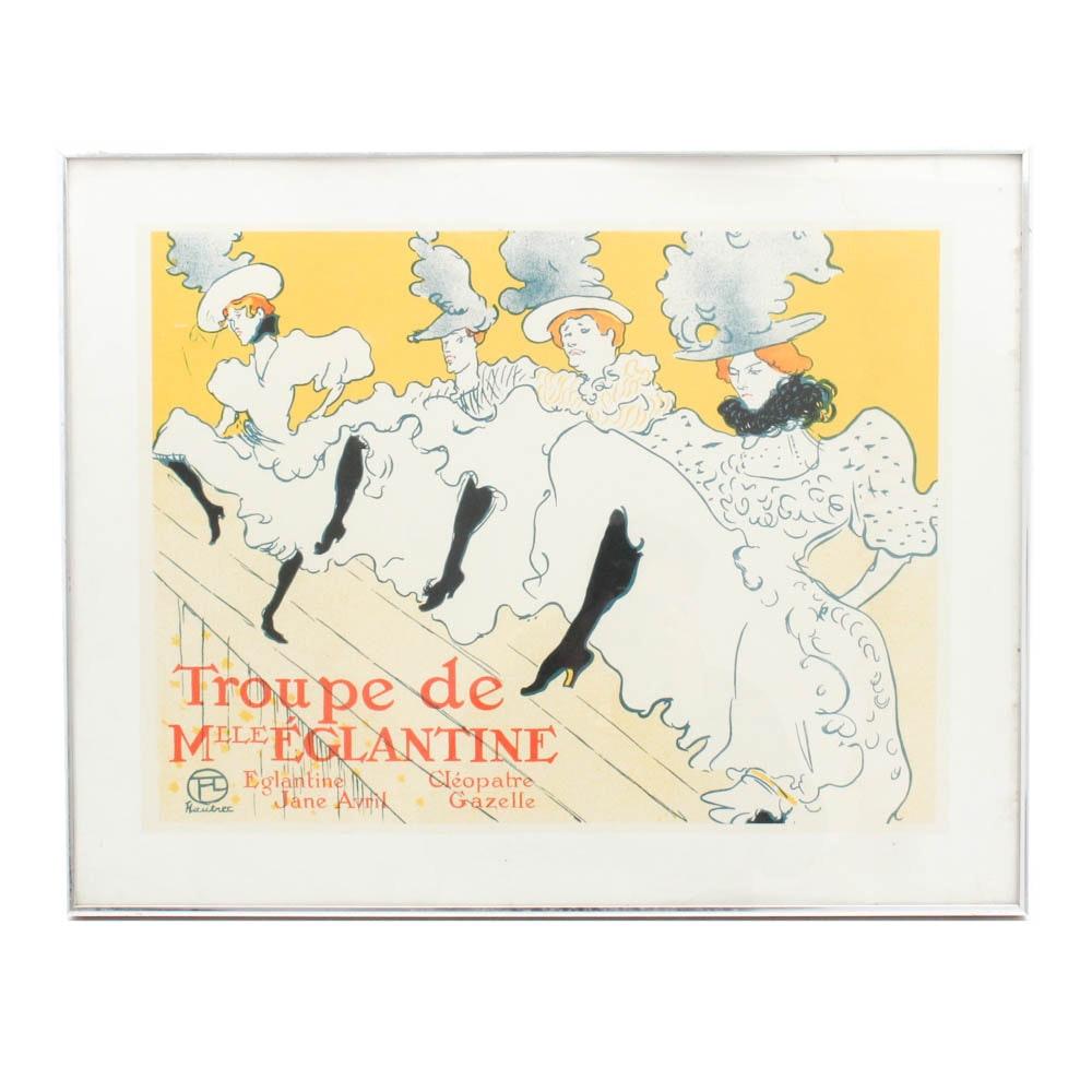 """Color Lithograph """"Troupe de Mlle Eglantine"""" after Henri Tolouse-Lautrec"""