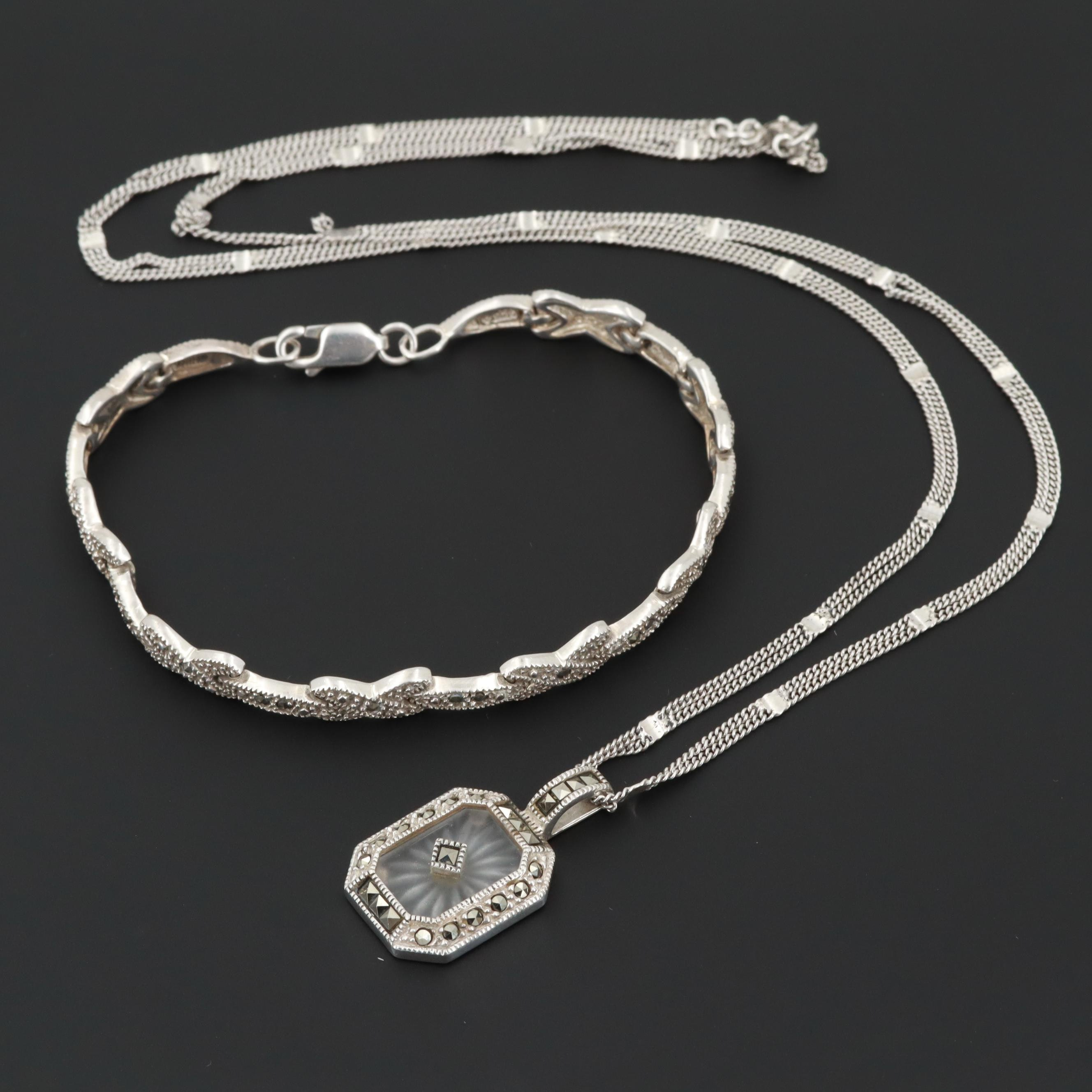 Judith Jack Sterling Silver Camphor Glass and Marcasite Necklace and Bracelet