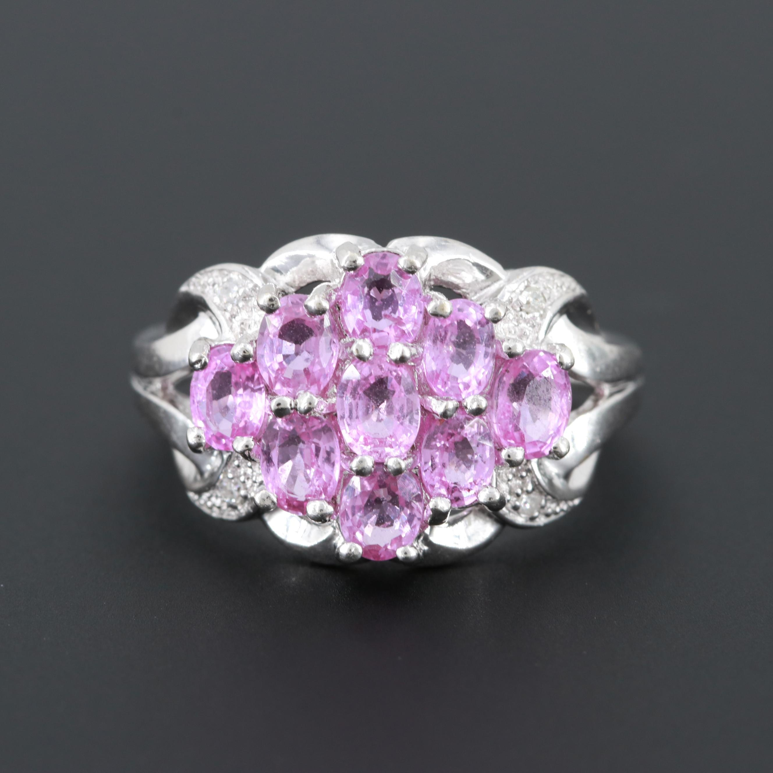 10K White Gold Pink Sapphire and Diamond Cluster Ring