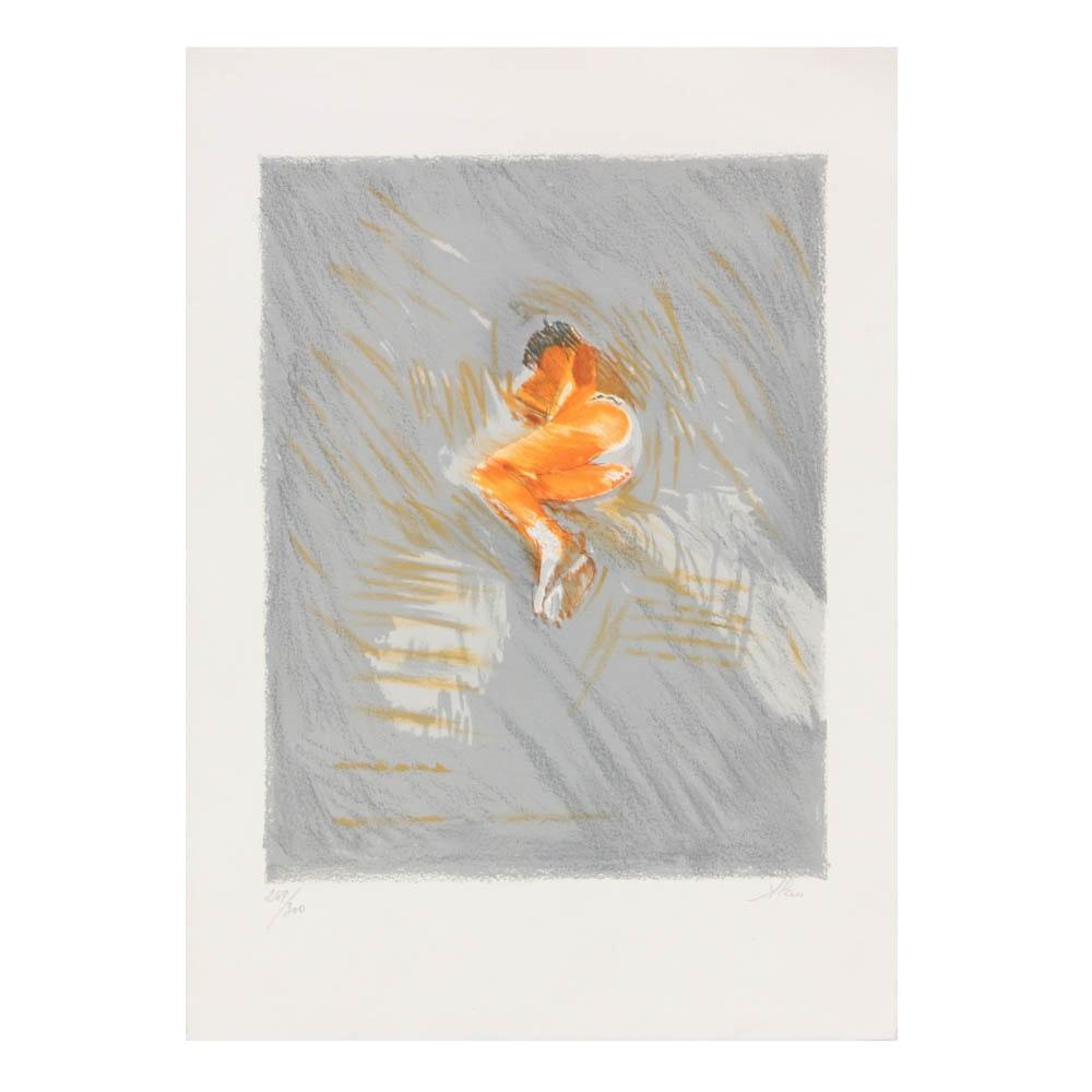 A. Pau Color Lithograph Sleeping Nude