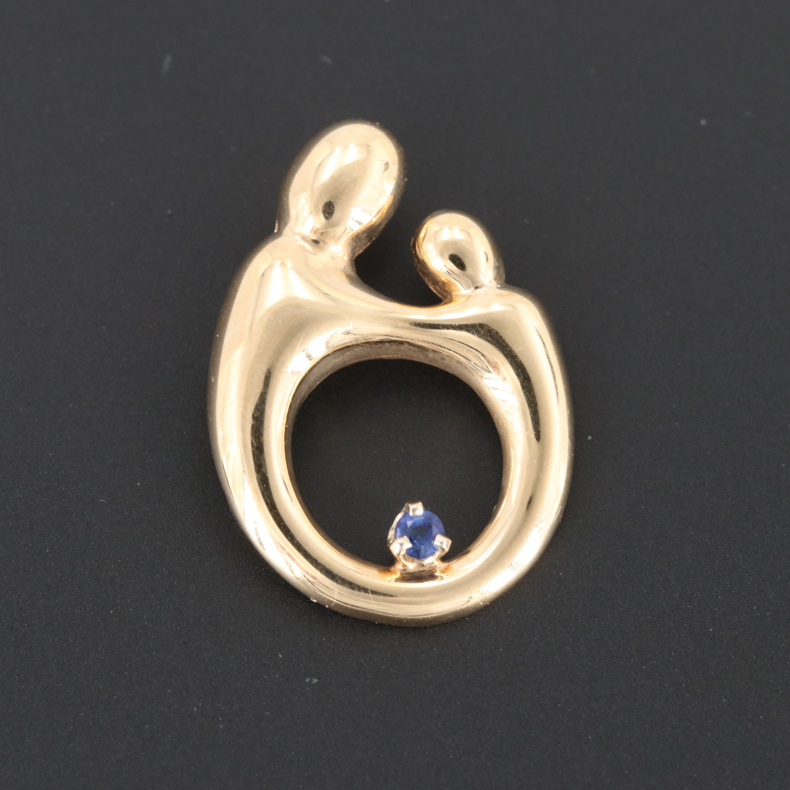 14K Yellow Gold Sapphire Mother and Child Pendant