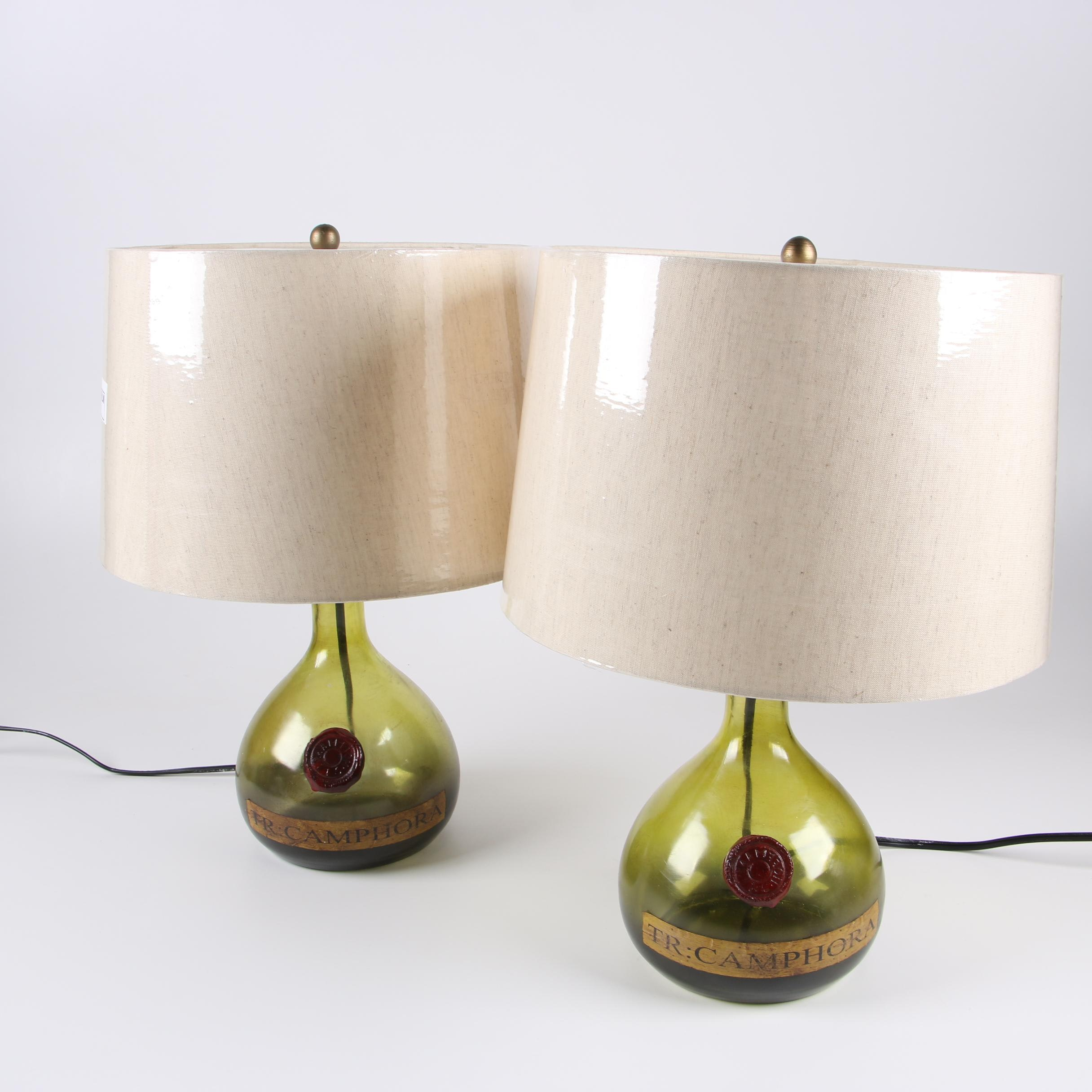Reproduction Green Tincture of Camphor Carboy Bottle Table Lamps, 2012