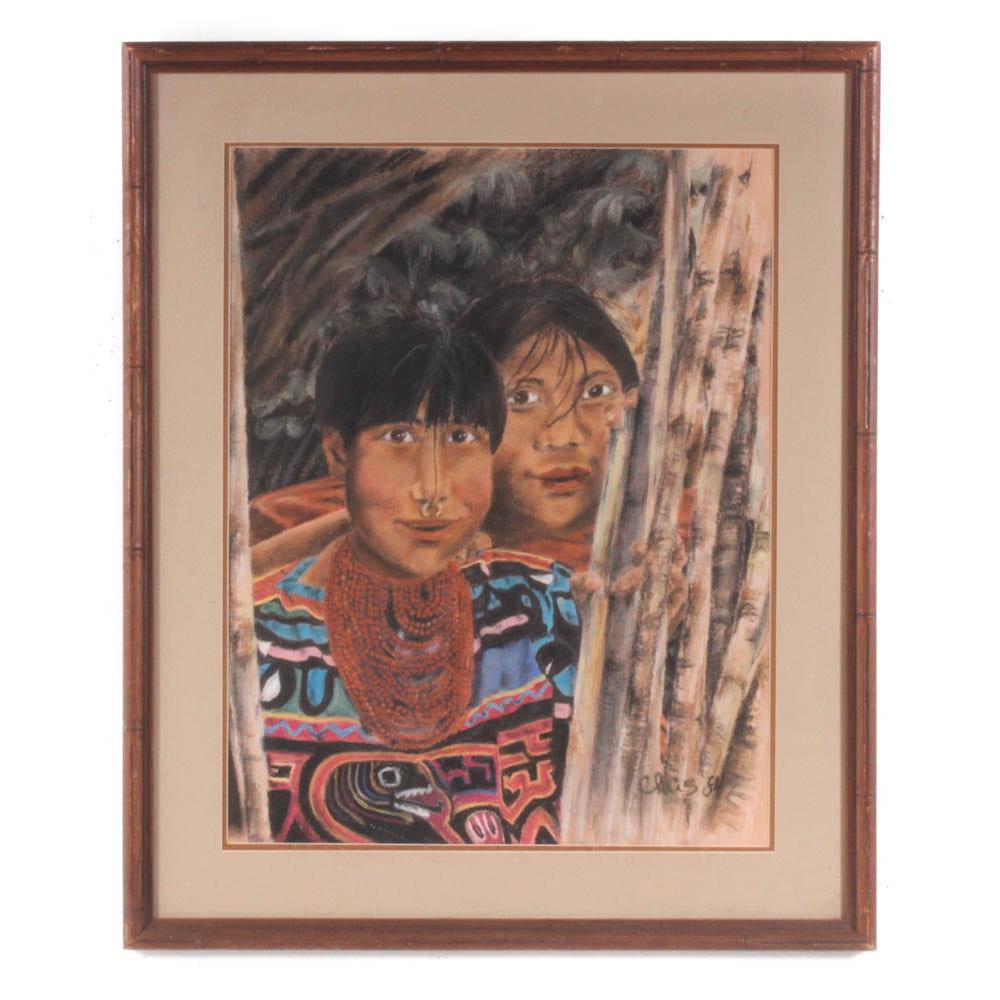 Pastel Drawing Kuna Tribesmen