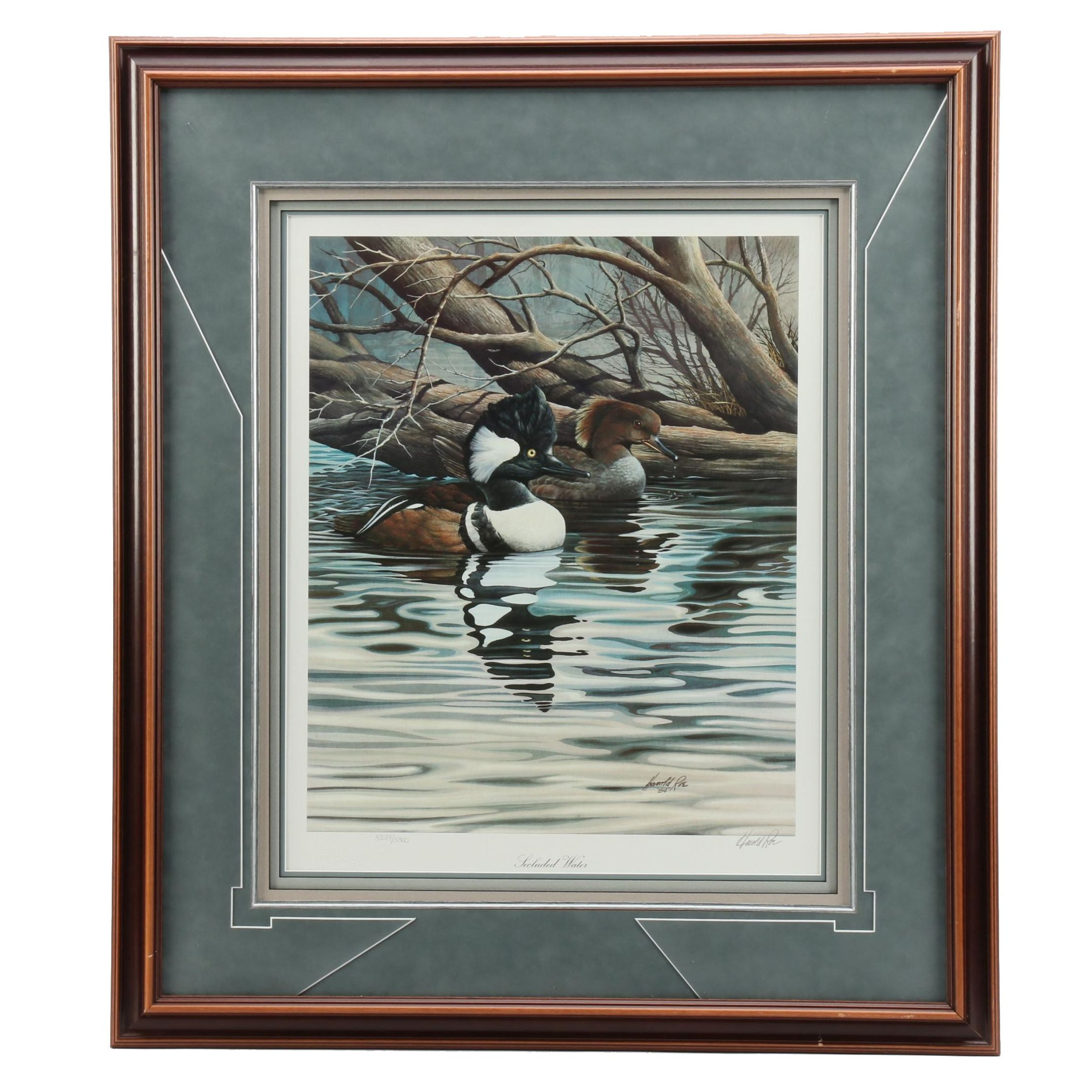 """Harold Roe Limited Edition Offset Lithograph """"Secluded Water"""""""