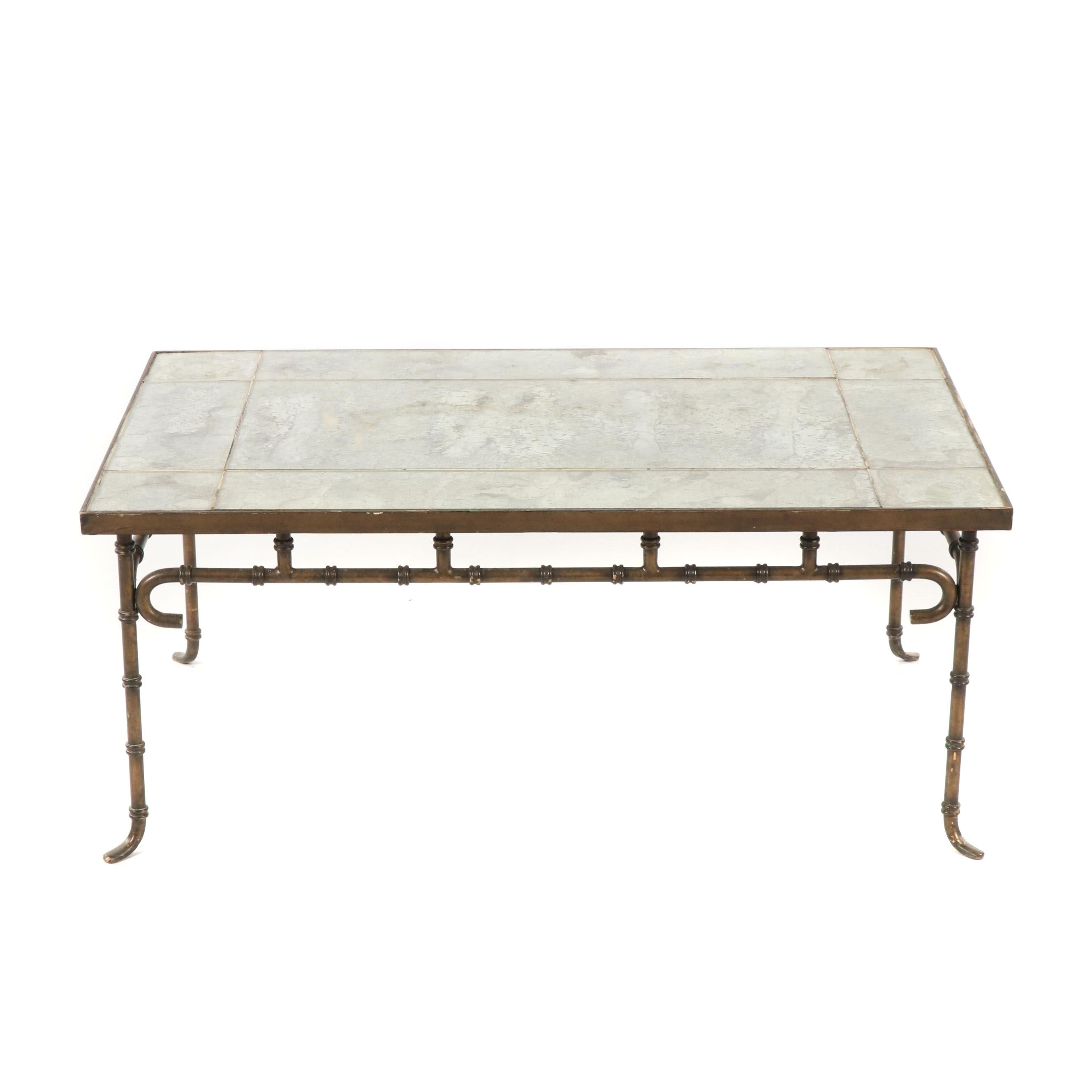 Metal and Glass Coffee Table, Late 20th Century