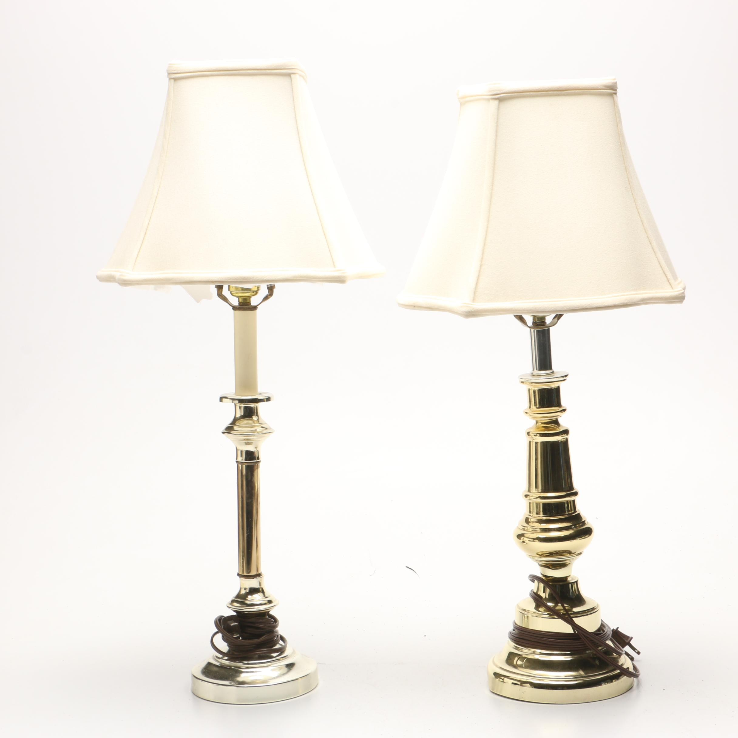 Brass Tone Table Lamps with Shades