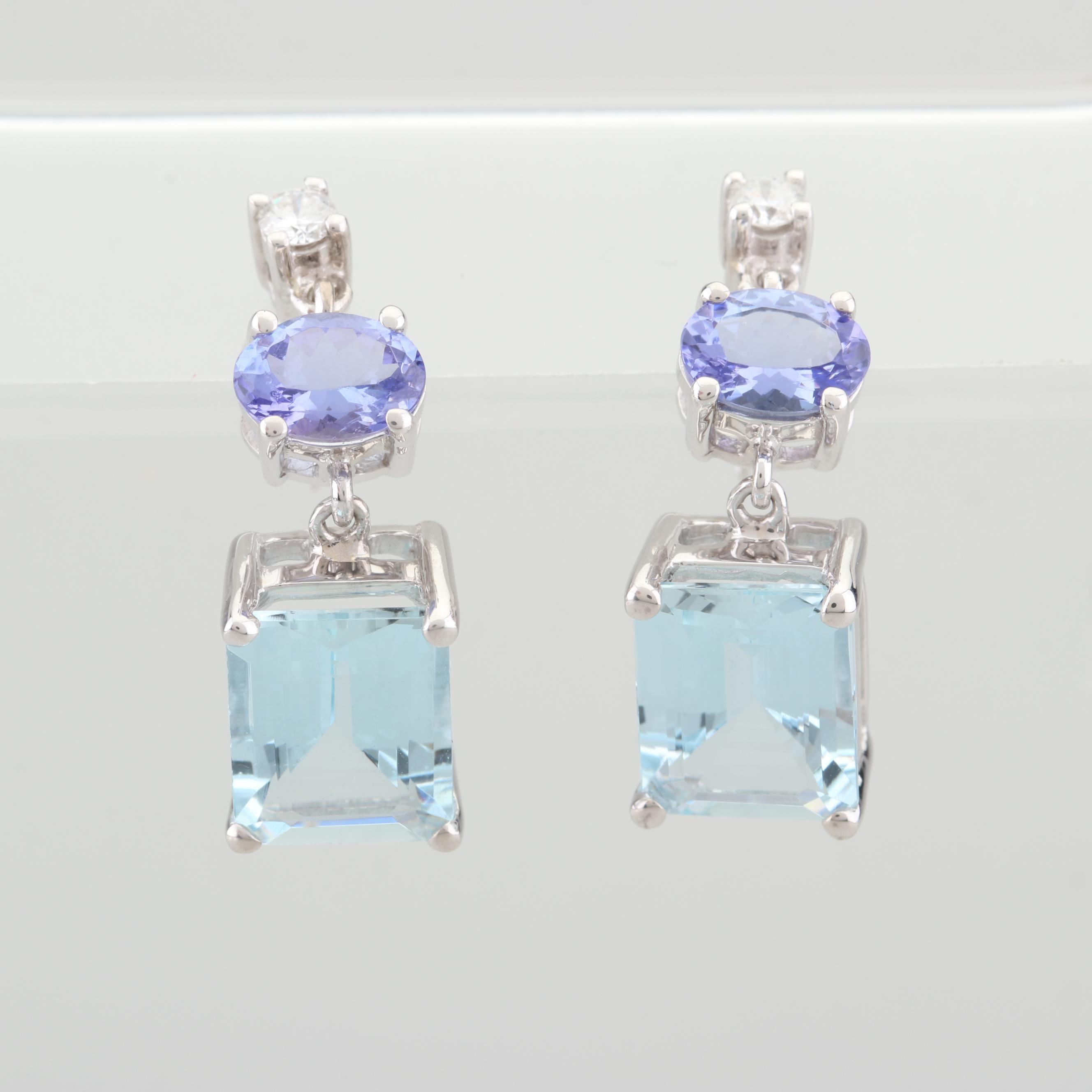 14K White Gold 7.50 CTW Aquamarine and 1.33 CTW Tanzanite and Diamond Earrings