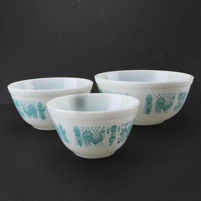 "Pyrex ""Butterprint Turquoise"" Ovenware Nesting Bowl Set, Mid-Century"