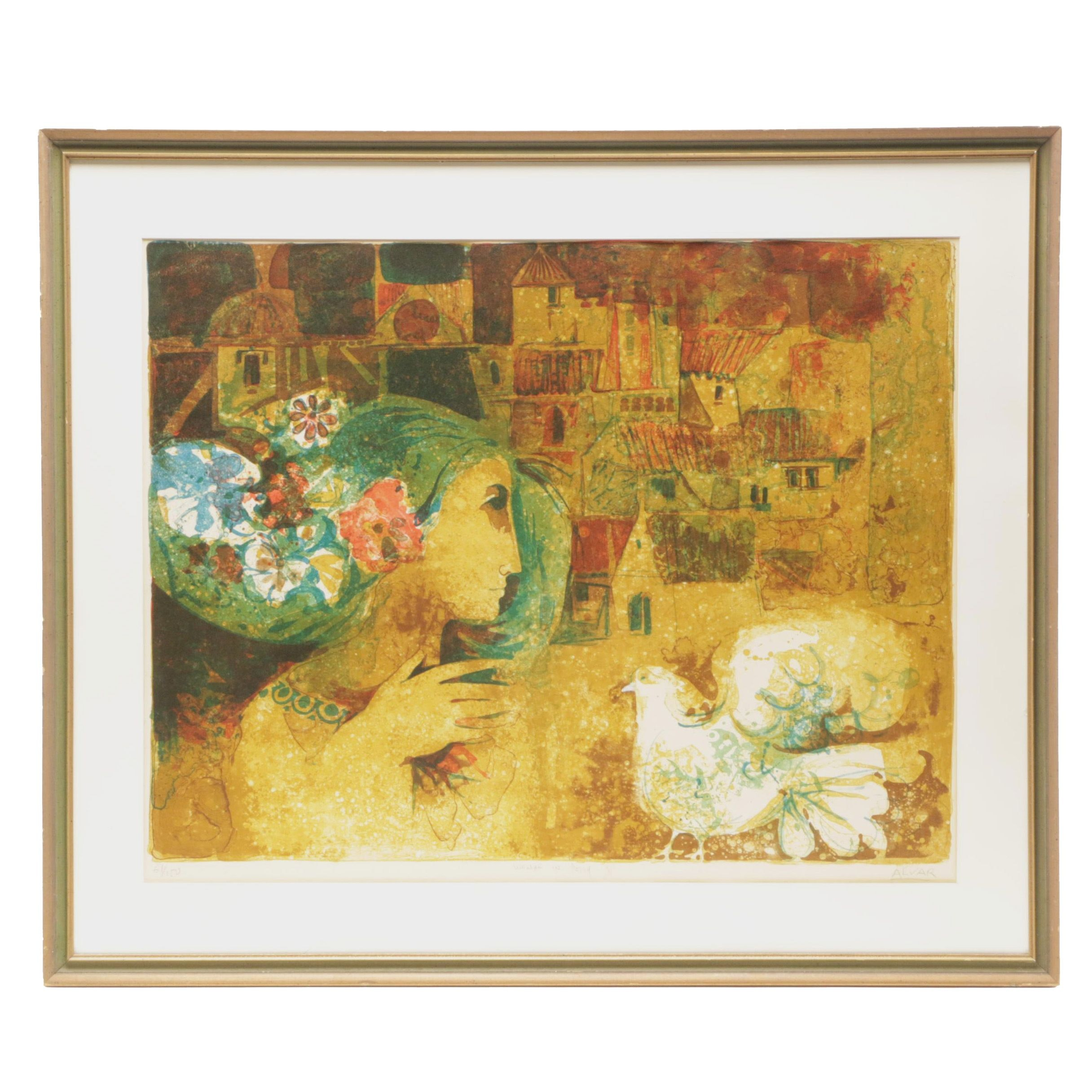 "Alvar Suñol Munoz-Ramos Limited Edition Lithograph ""Woman in Poesy"""
