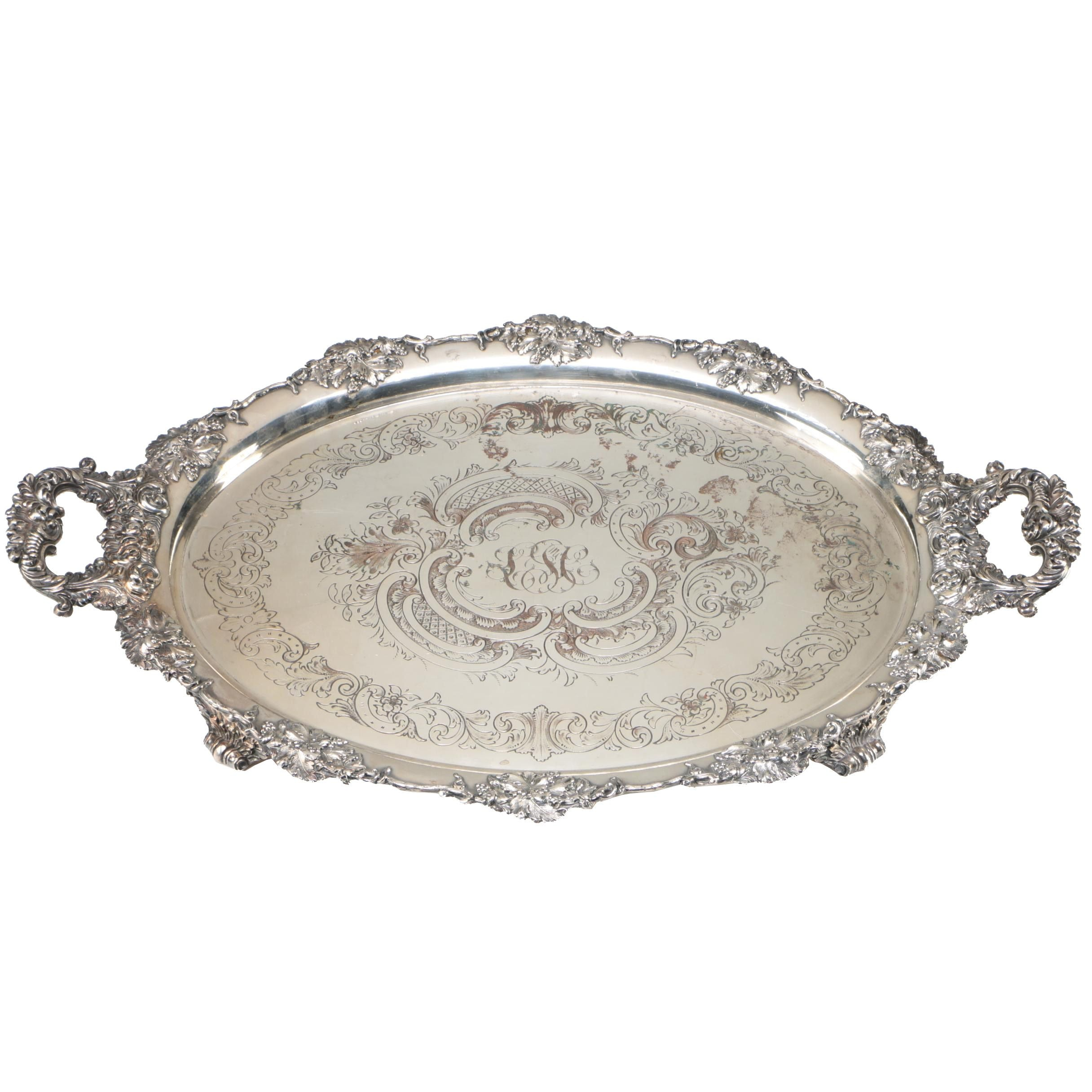 Large Victorian Silver Plate Over Copper Two Handle Tray