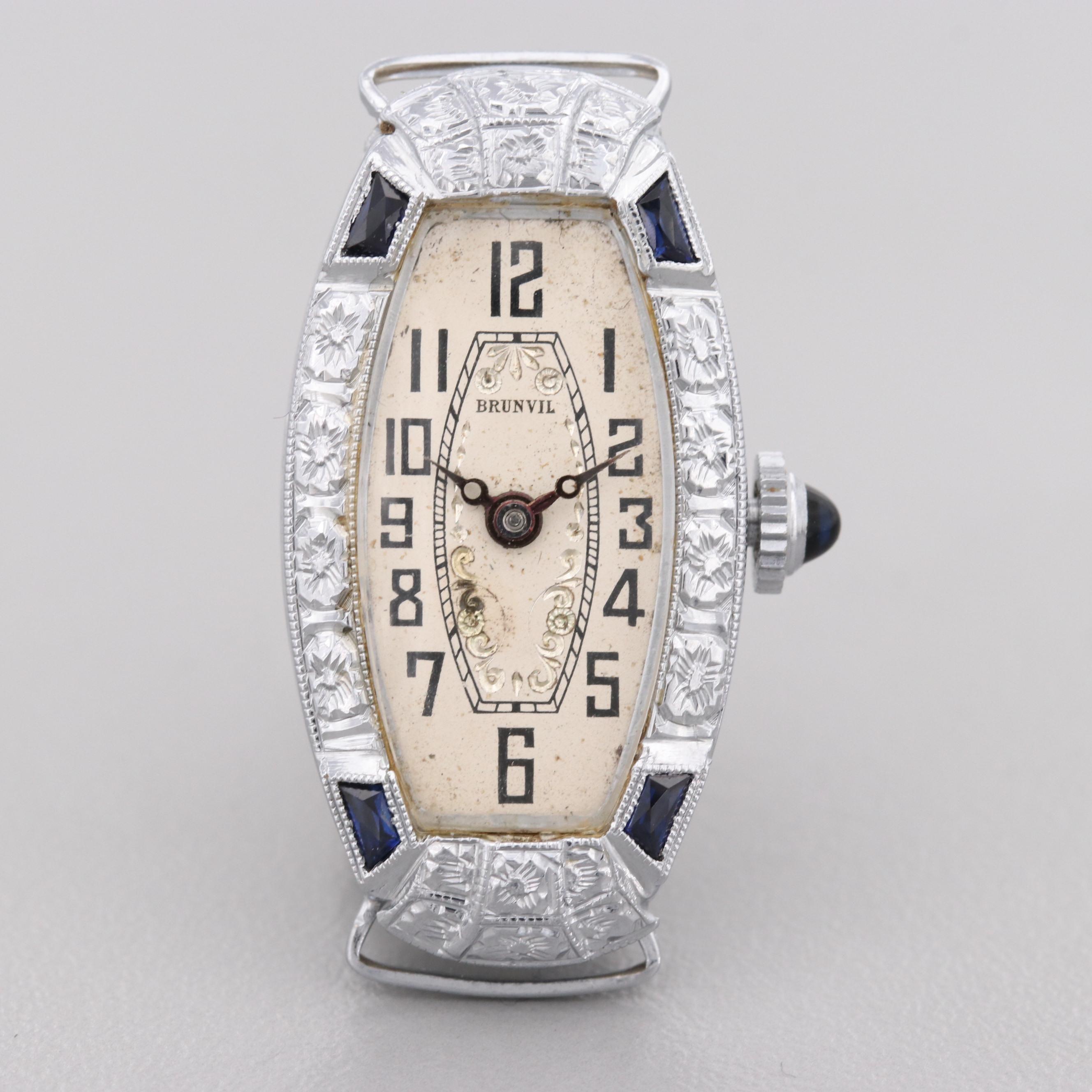 Vintage Bruniul 14K White Gold Stem Wind Wristwatch