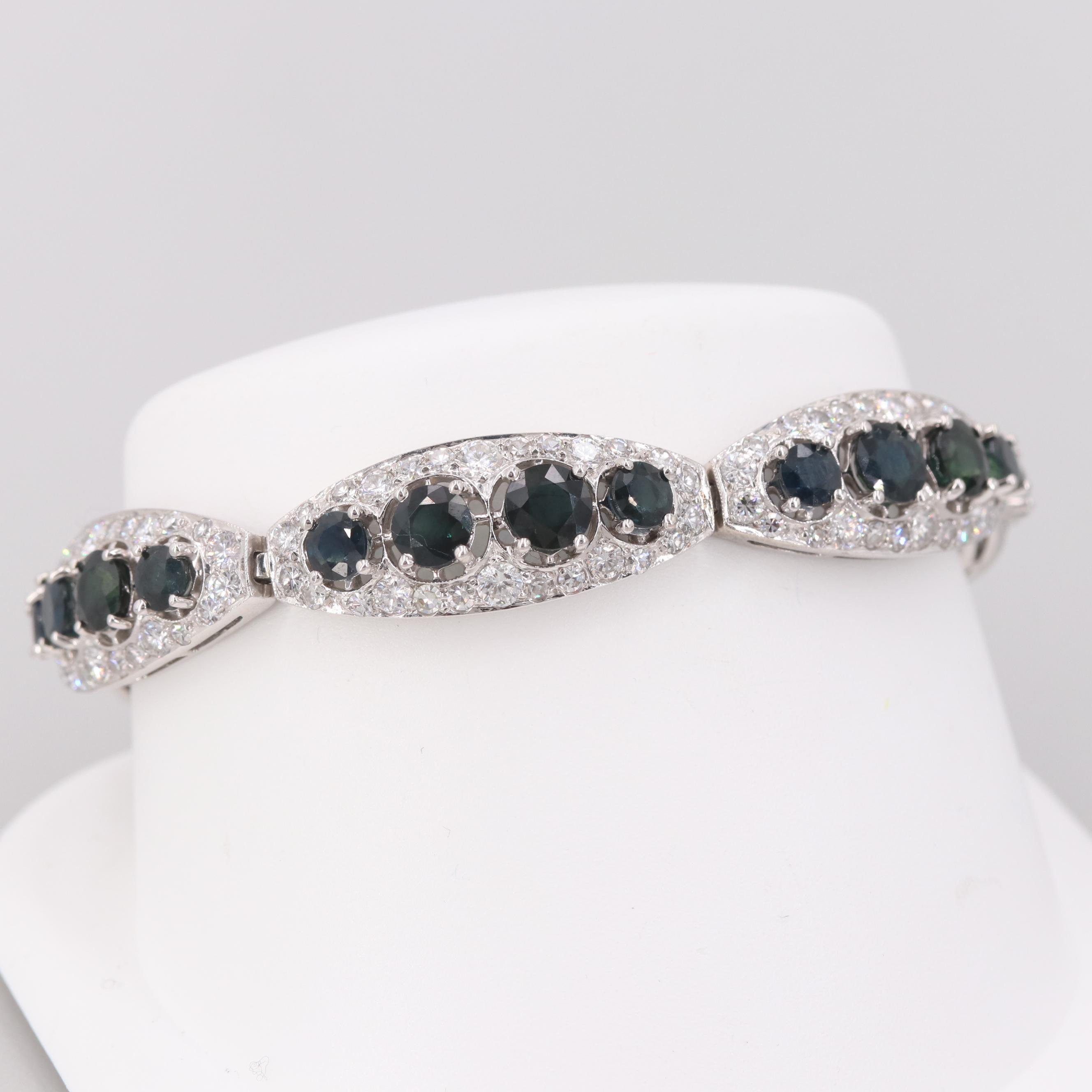 18K White Gold Blue Sapphire and 5.46 CTW Diamond Bracelet