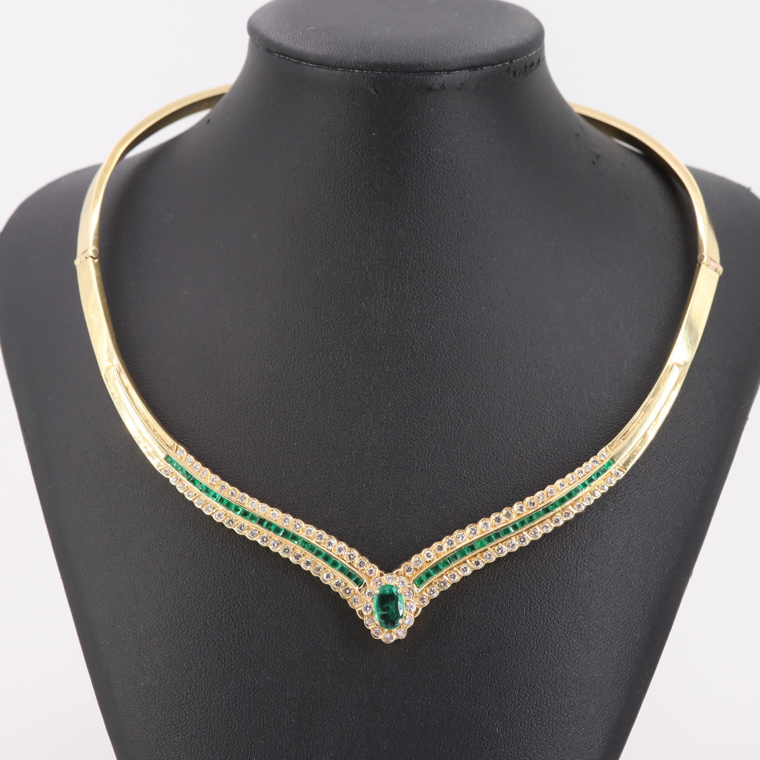 18K Yellow Gold 1.14 CT Emerald and 2.30 CTW Diamond Collar Necklace