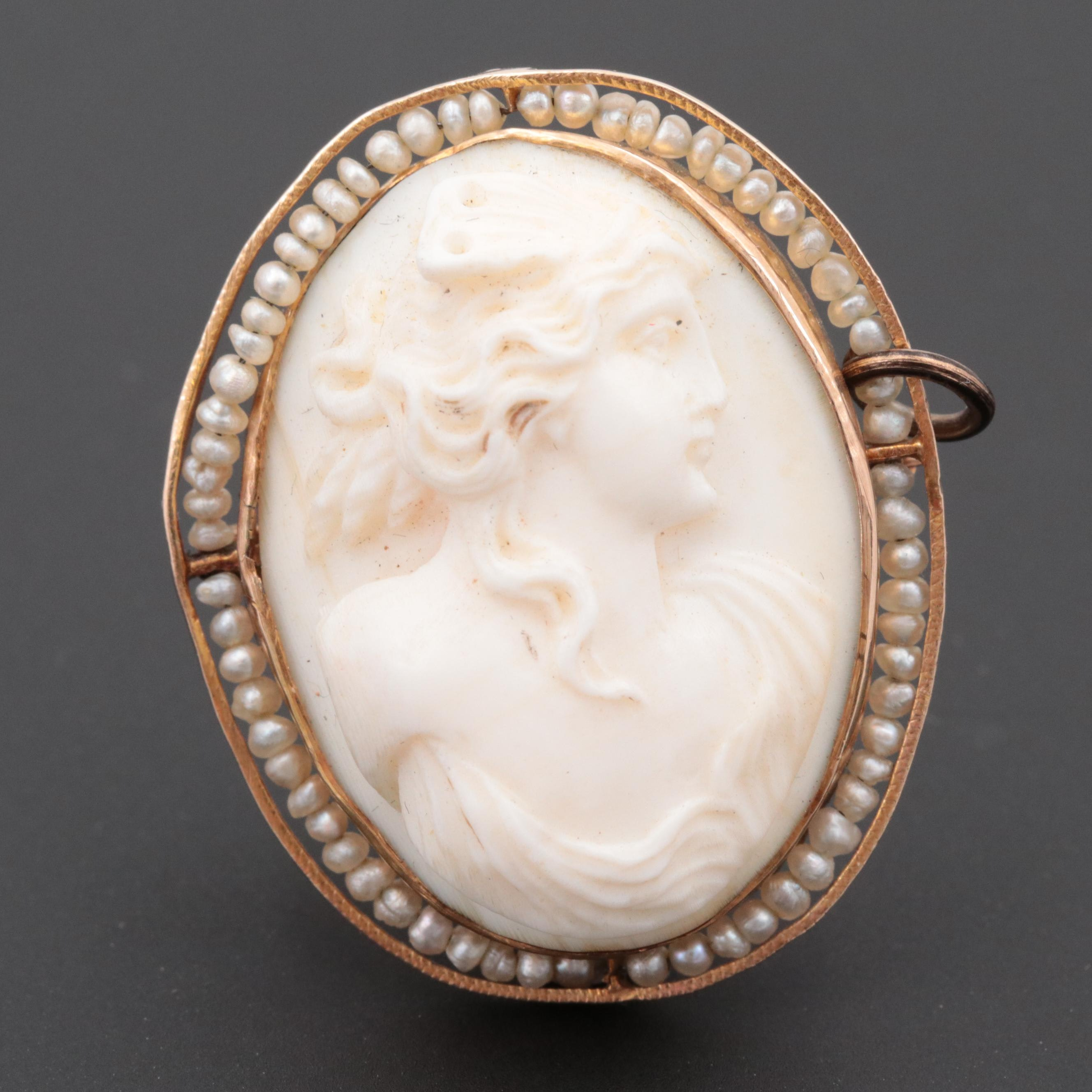 Victorian 10K Yellow Gold Shell and Cultured Pearl High Relief Cameo Brooch