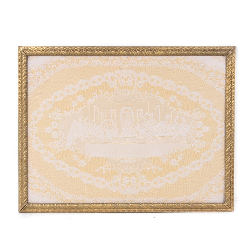 """Framed Handcrafted Lace """"Last Supper"""" Panel"""