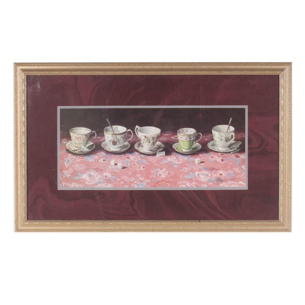 "Richard Boyer ""Afternoon Tea"" Offset Lithograph"