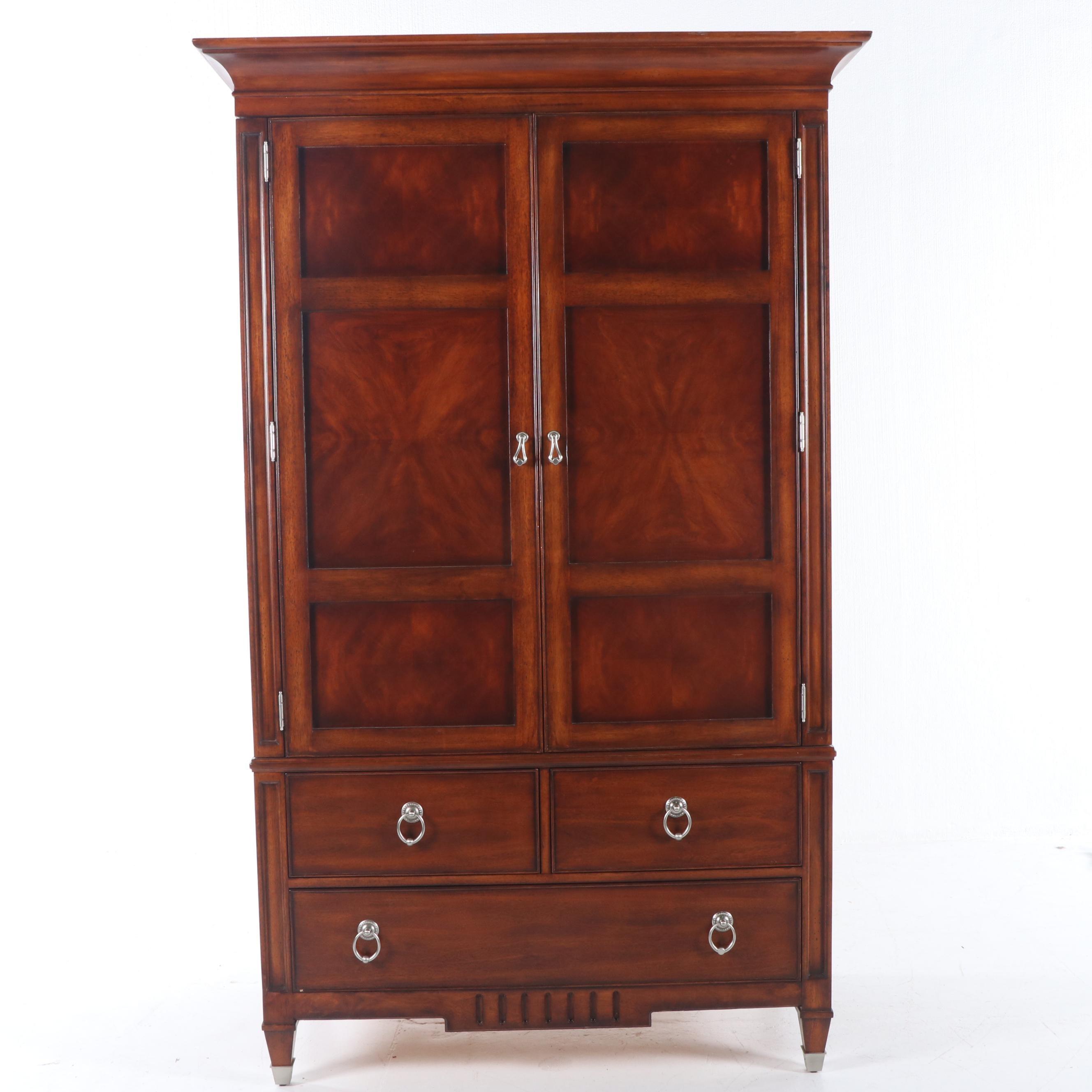 Federal Style Burl Wood Veneer Armoire by Liz Claiborne, 21st Century