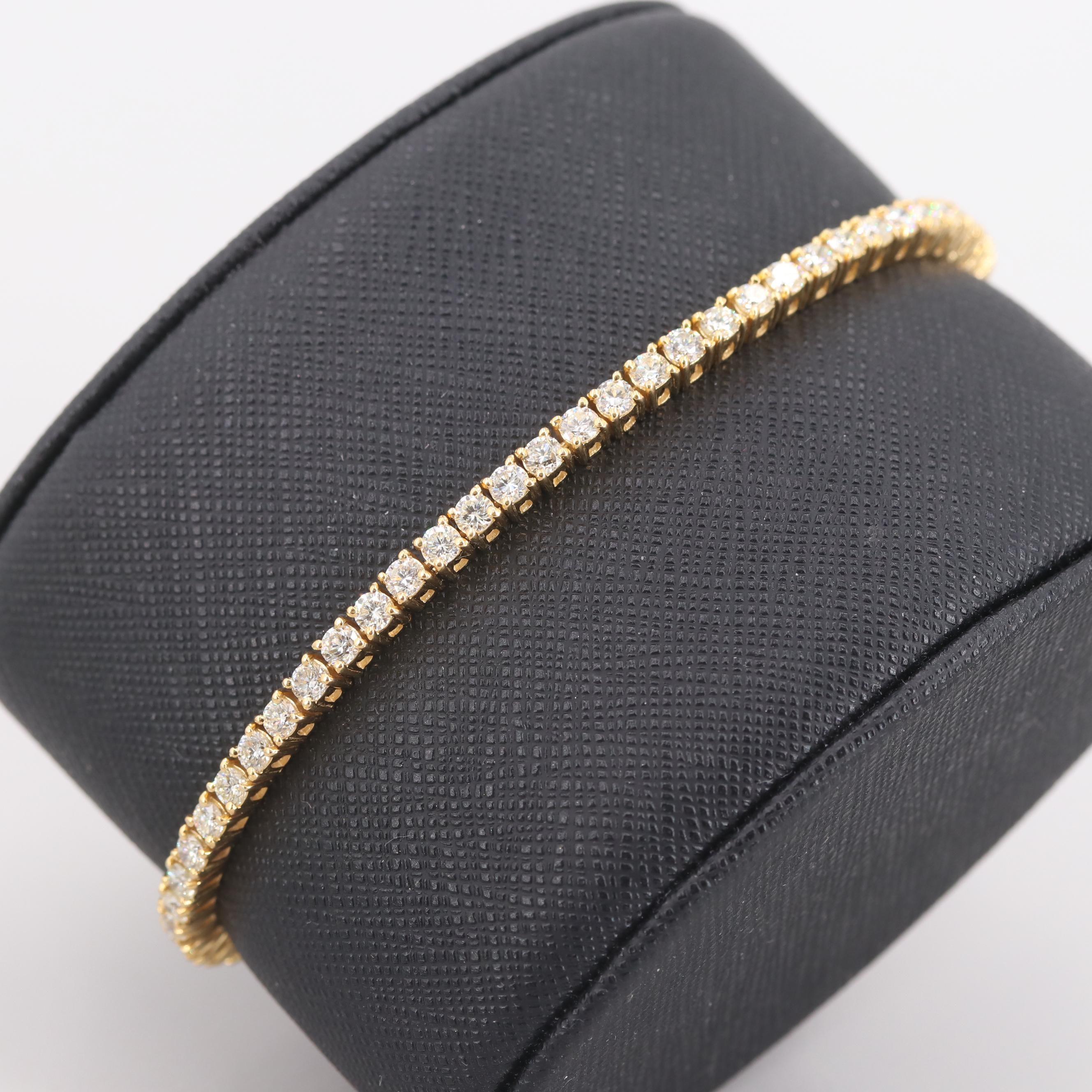 18K Yellow Gold 4.40 CTW Diamond Tennis Bracelet