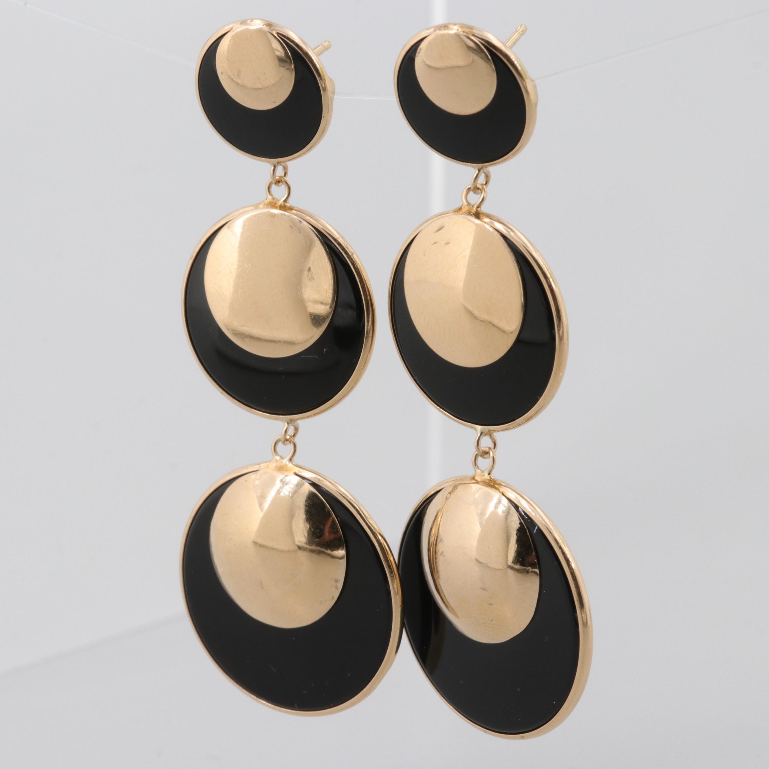 14K Yellow Gold Black Onyx Dangle Earrings
